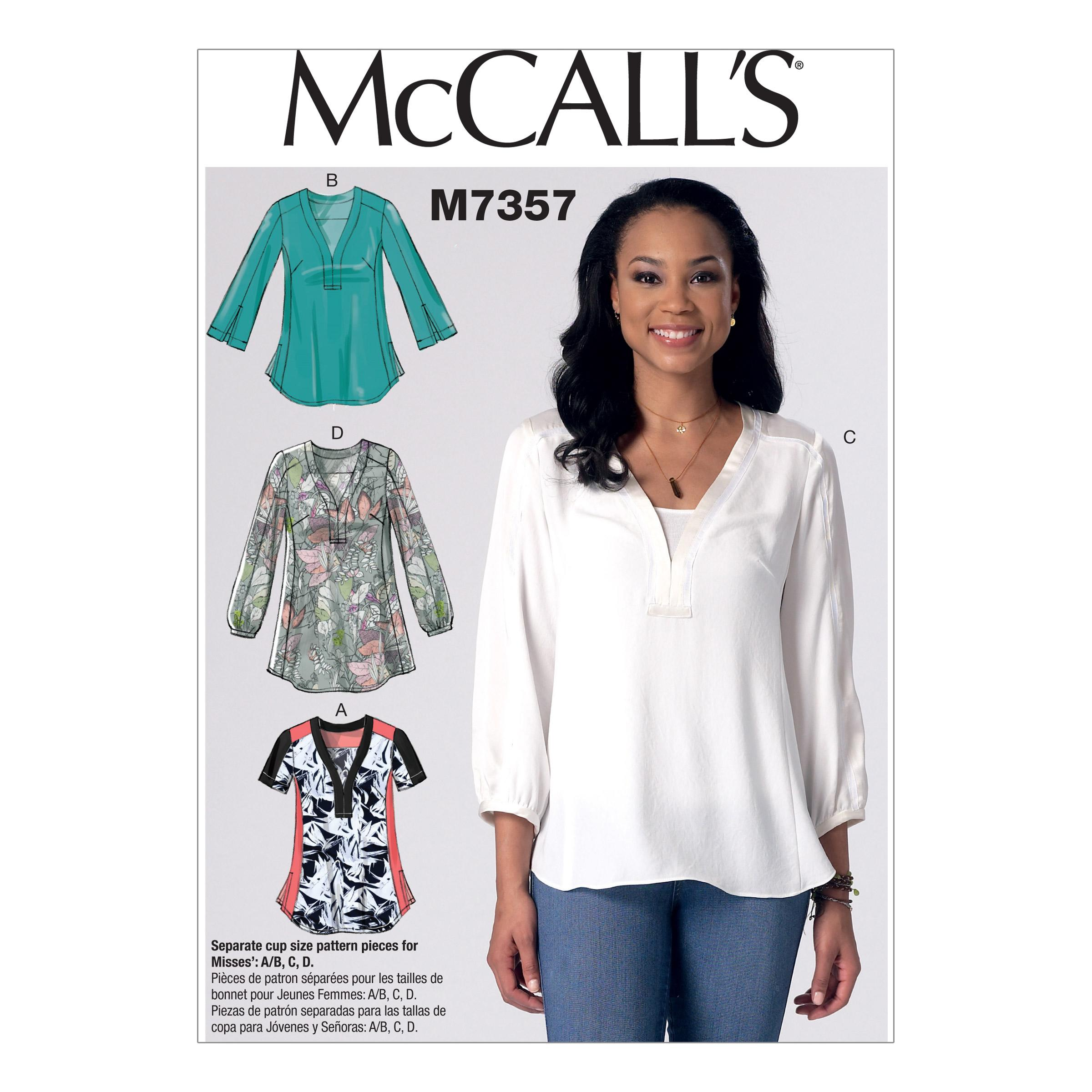 McCalls M7357 A/B, C & D Cup Sizes, Tops/Tunics