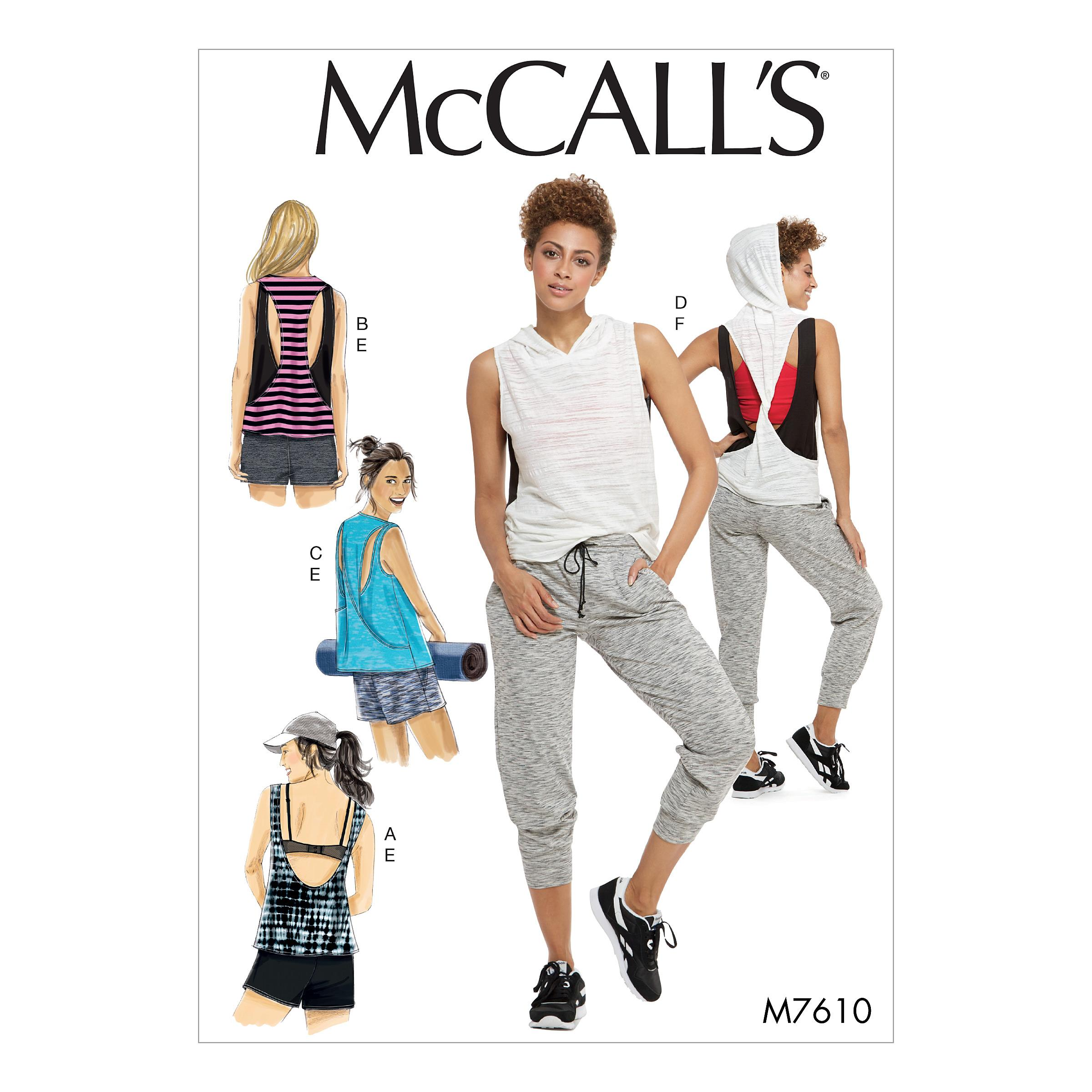 McCalls M7610 Misses Pants, Jumpsuits & Shorts, Misses Tops
