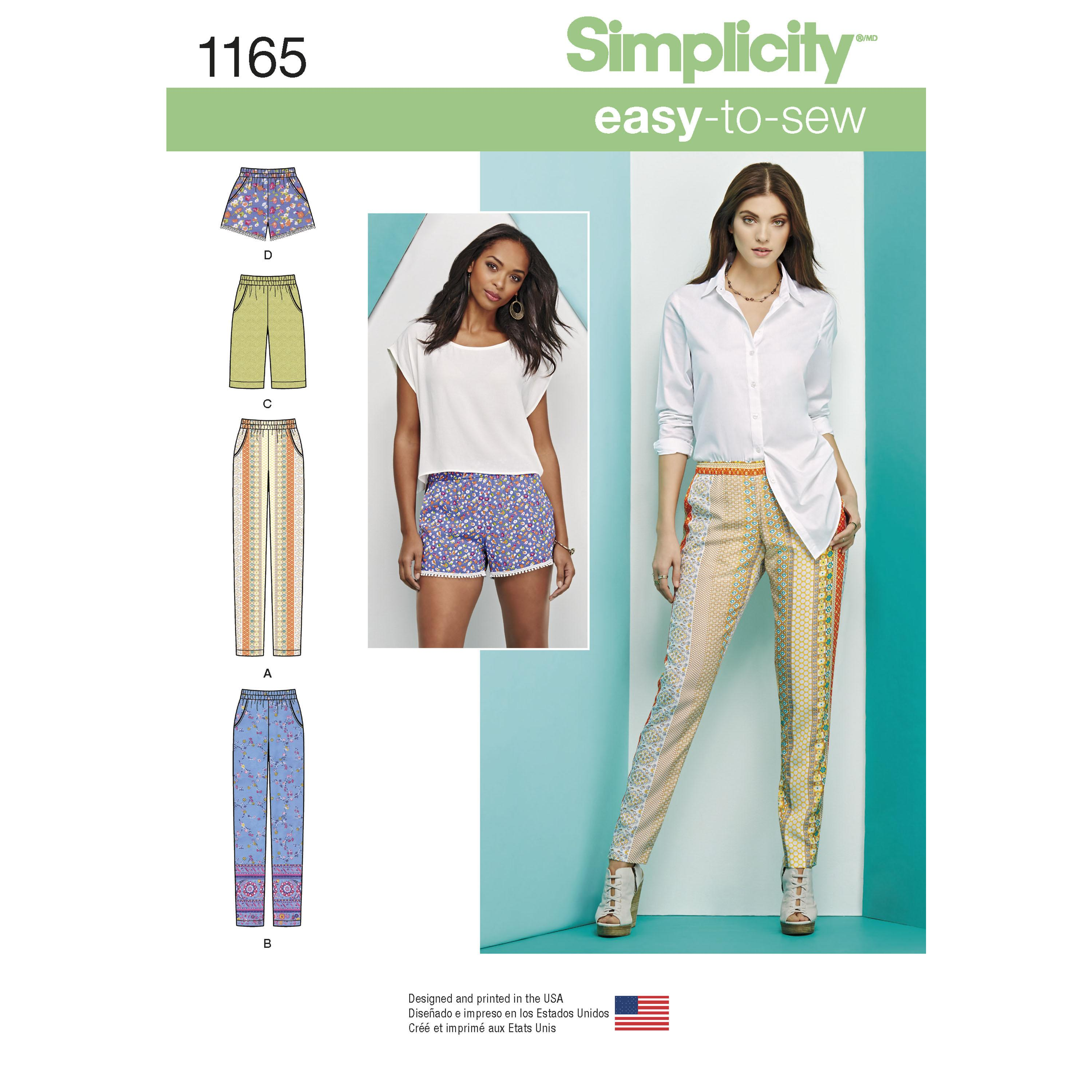 Simplicity S1165 Women's Pull-on Trousers, Long or Short Shorts