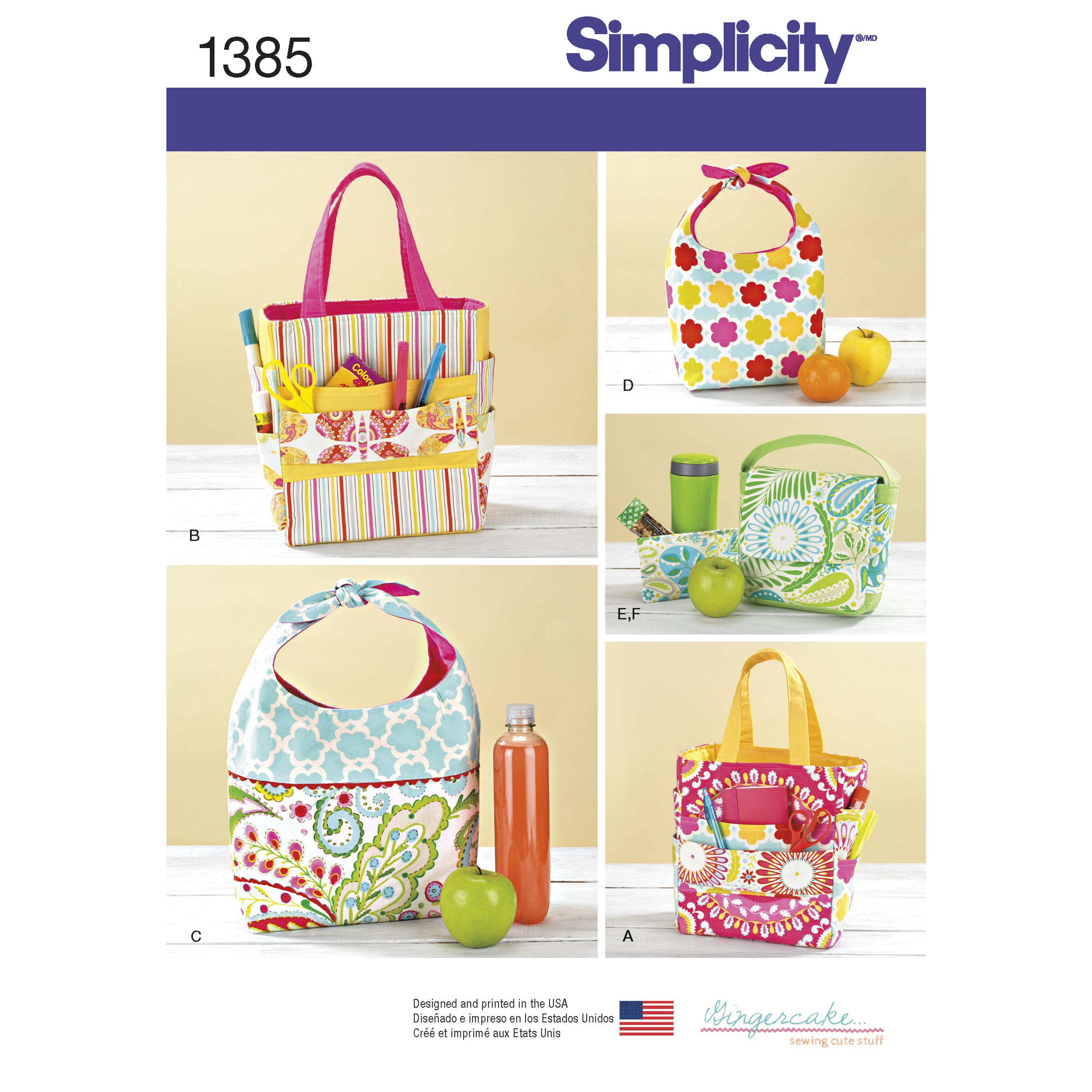 Simplicity S1385 Art Caddies, Lunch Bags and Snack Bag