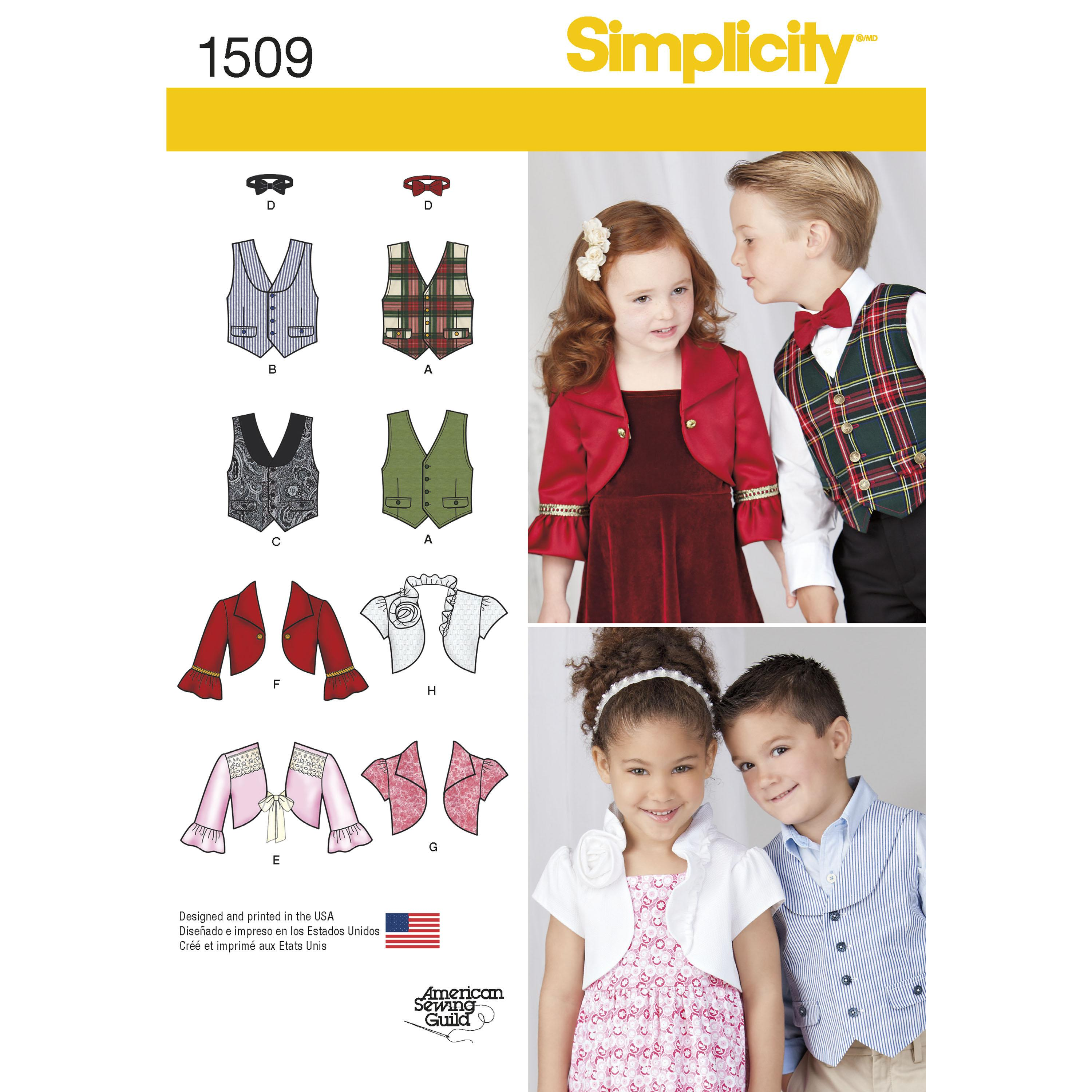 Simplicity S1509 Child's Vest, Bolero and Bow Tie