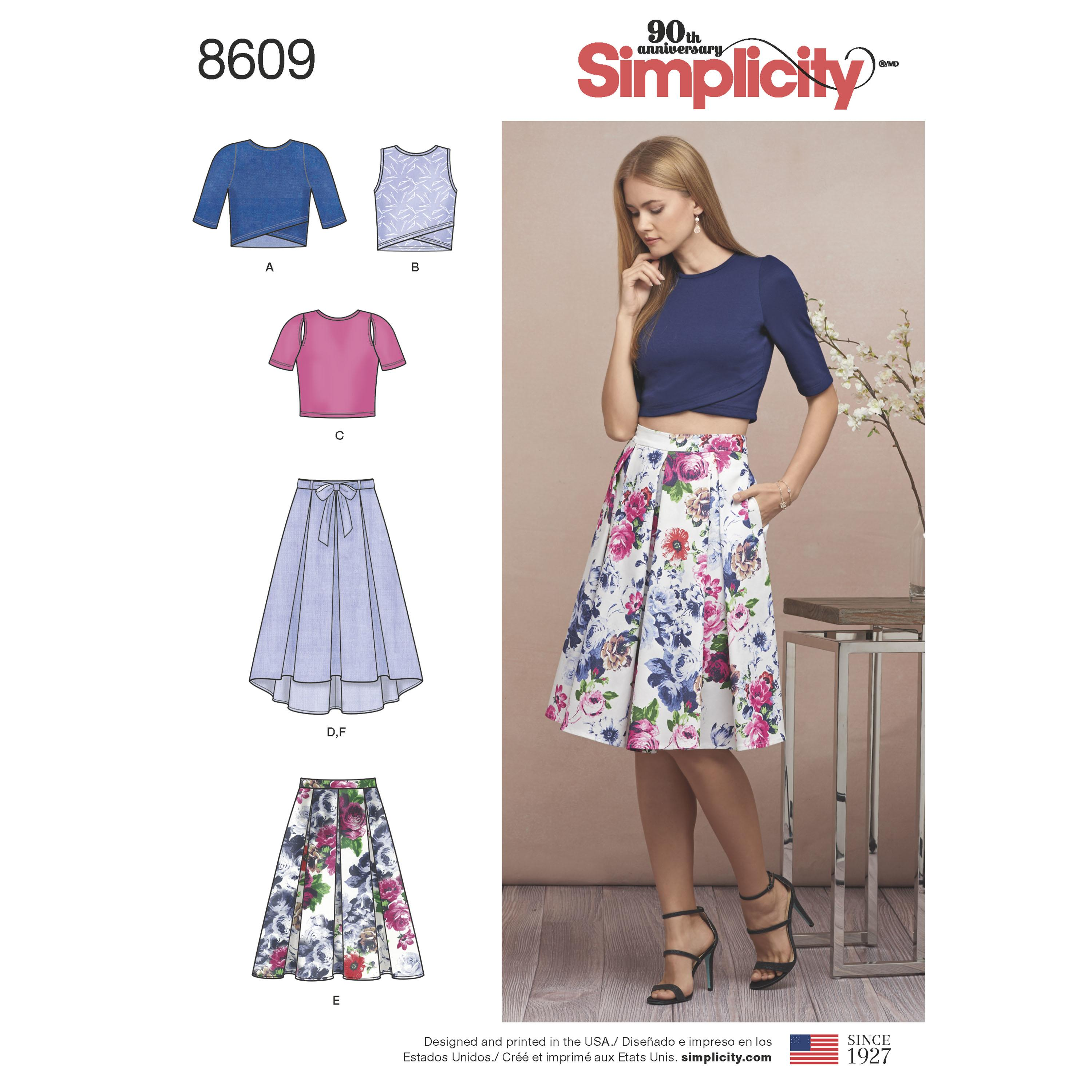 Simplicity S8609 Womens Skirts and Knit Tops
