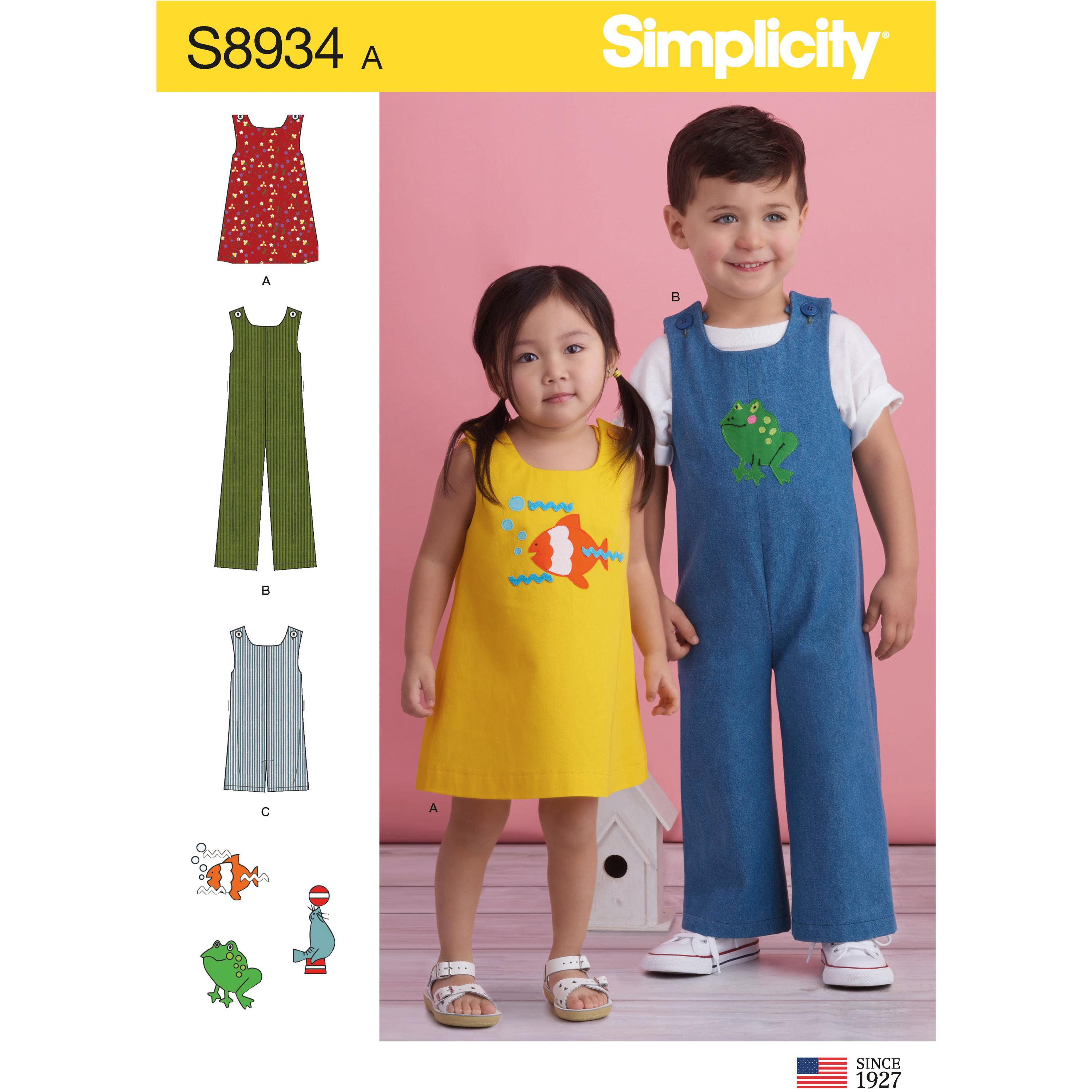 Simplicity S8934 Toddler's Jumper, Jumpsuit, and Romper