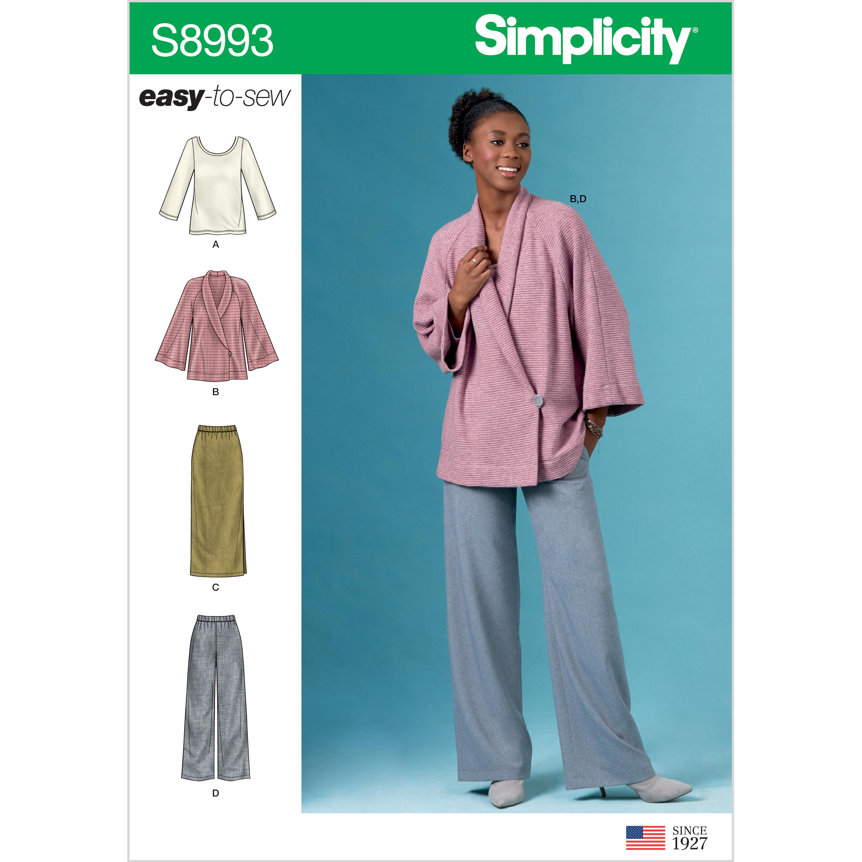 Simplicity S8993 Misses' Knit Jacket, Top, Skirt and Pants