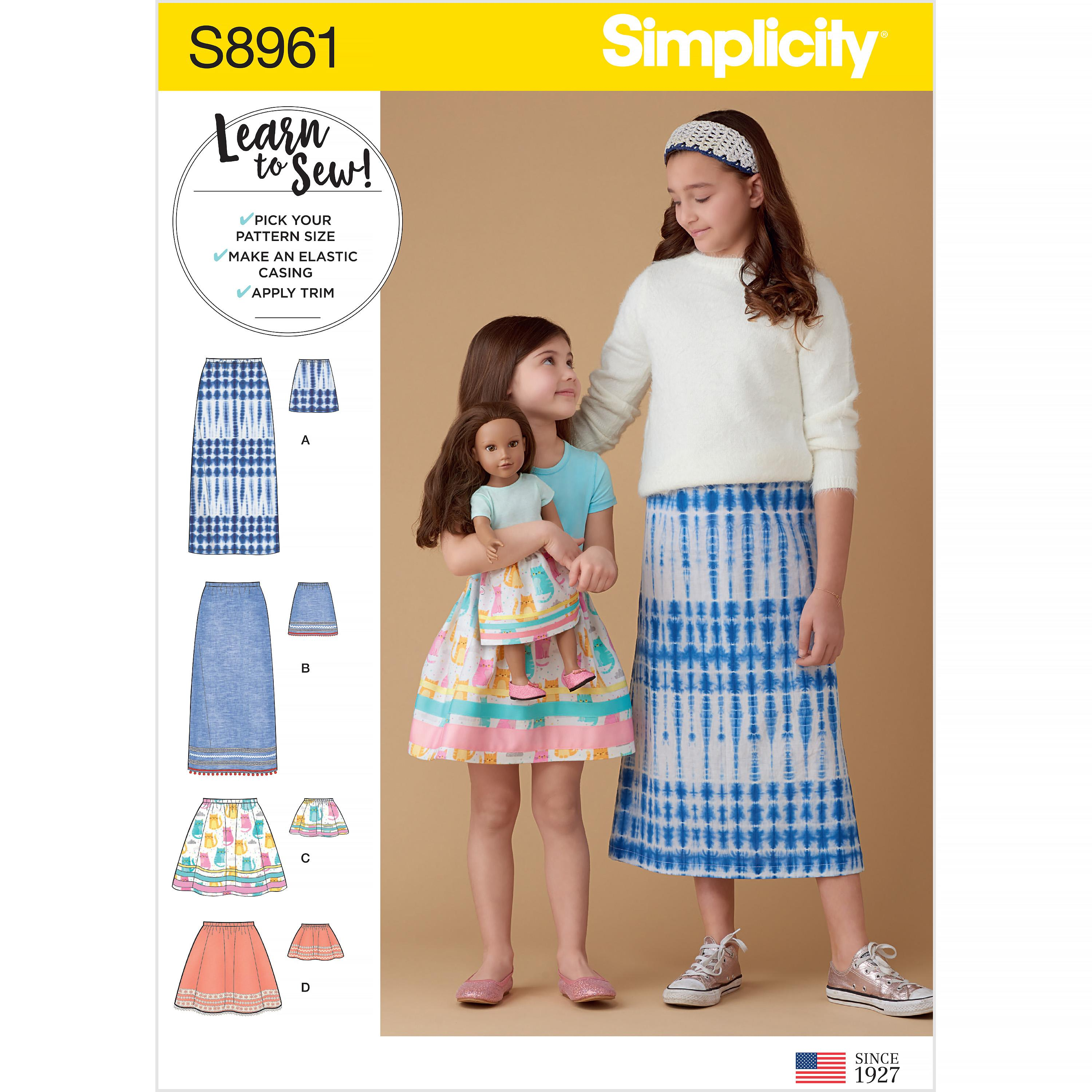 Simplicity S8961 Children's, Girls', and Dolls' Skirts