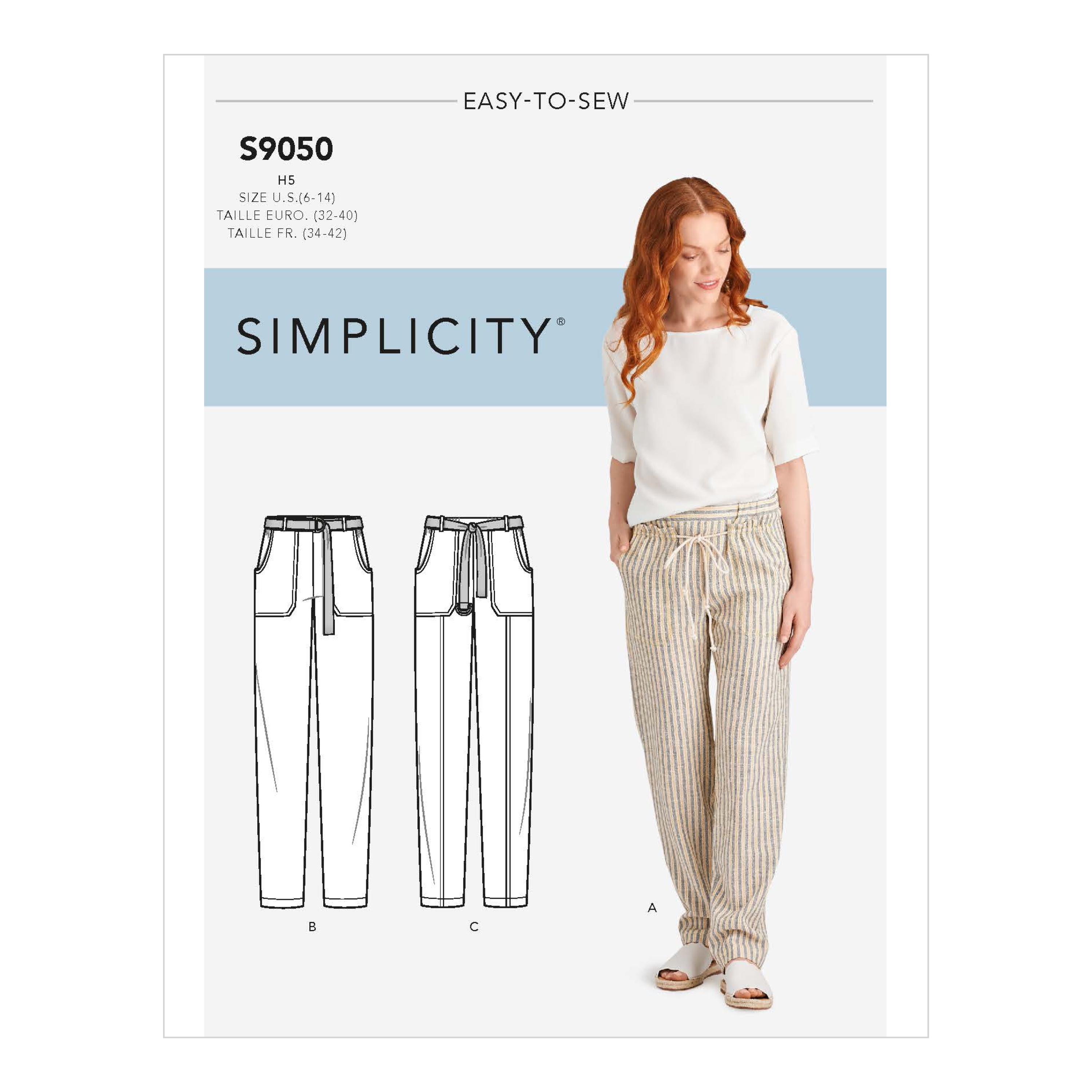 Simplicity S9050 Misses' Pull On Pants With Pockets