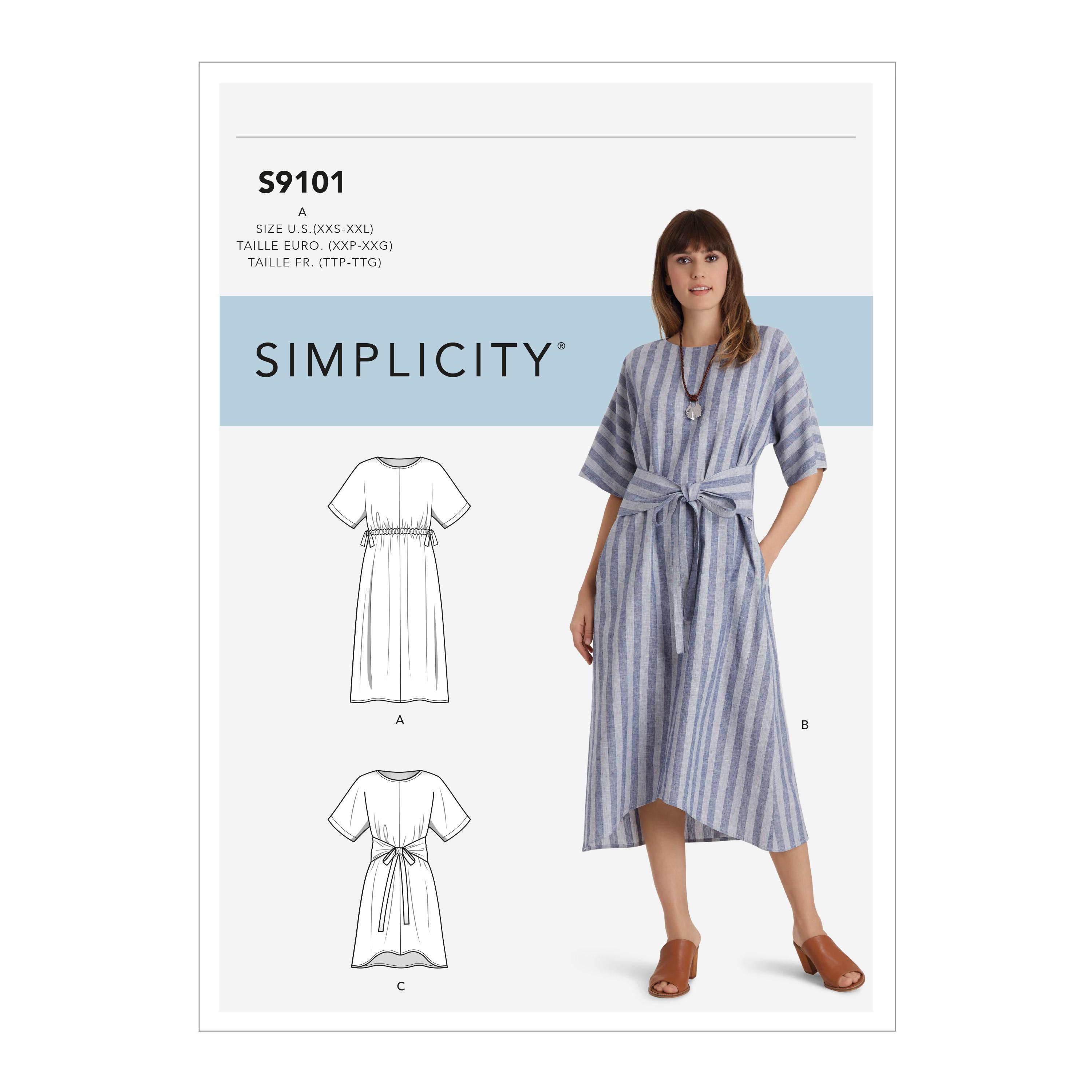 Simplicity S9101 Misses' Pullover Dresses In Two Lengths