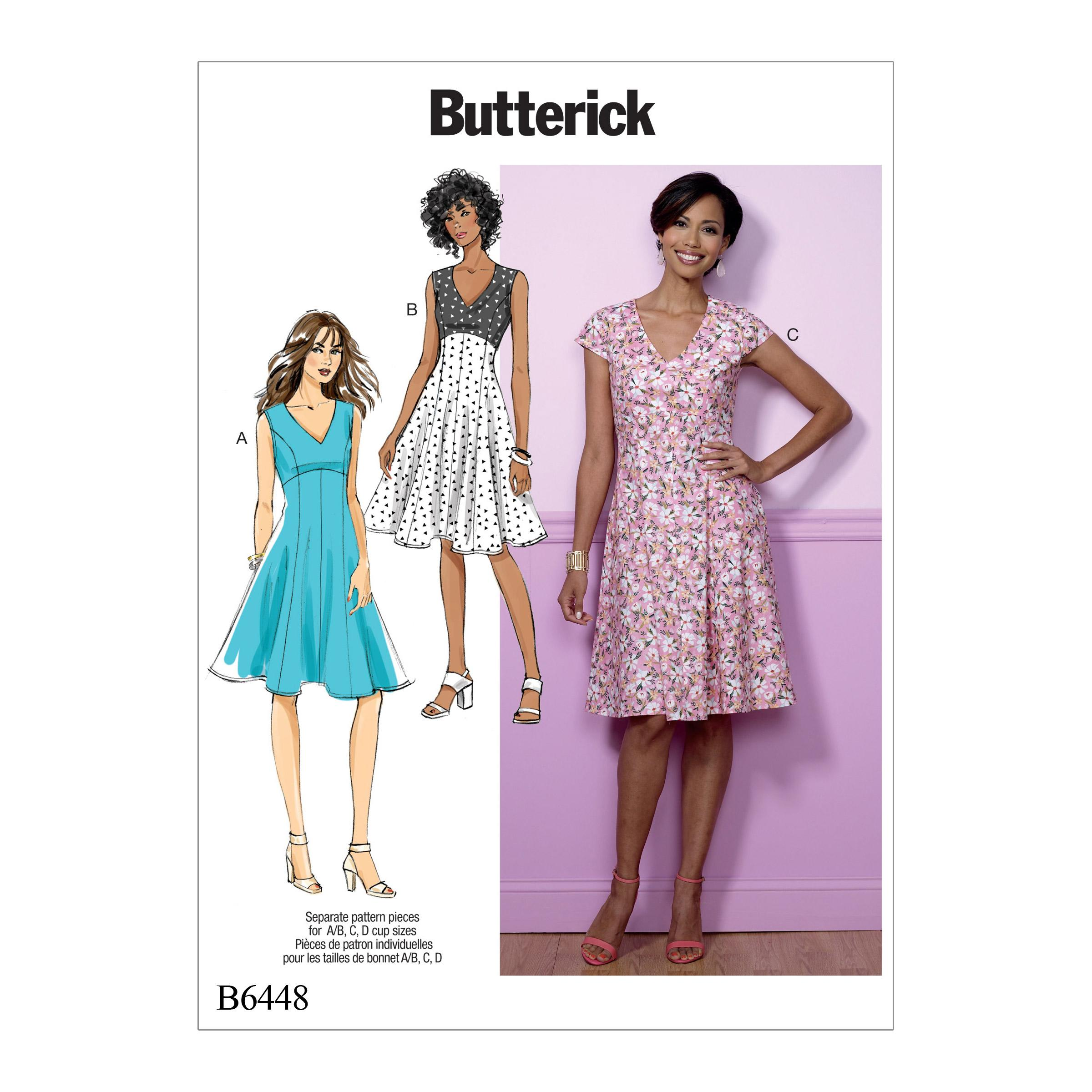 Butterick B6448 Misses' Fit-and-Flare, Empire-Waist Dresses