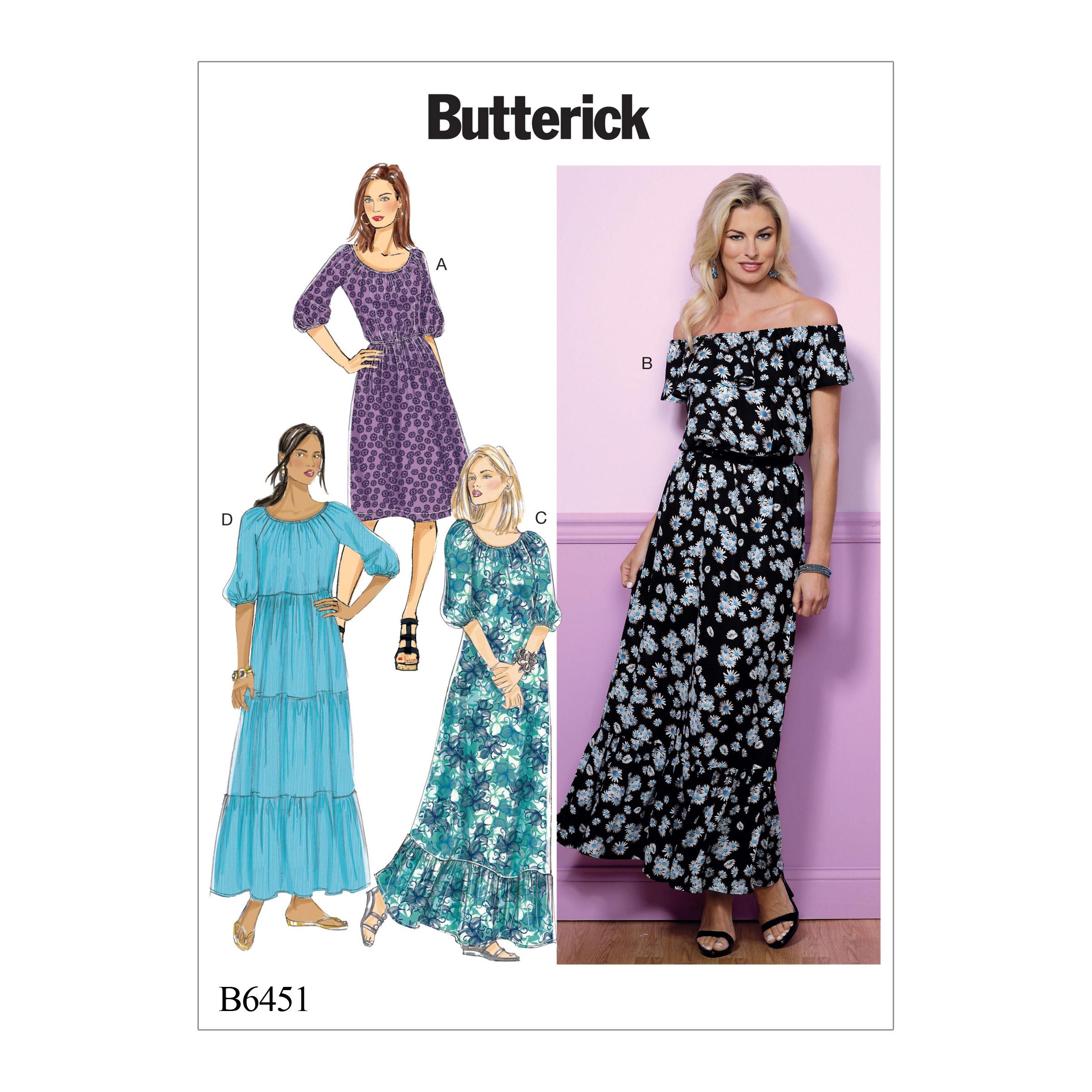 Butterick B6451 Misses' Gathered, Blouson Dresses