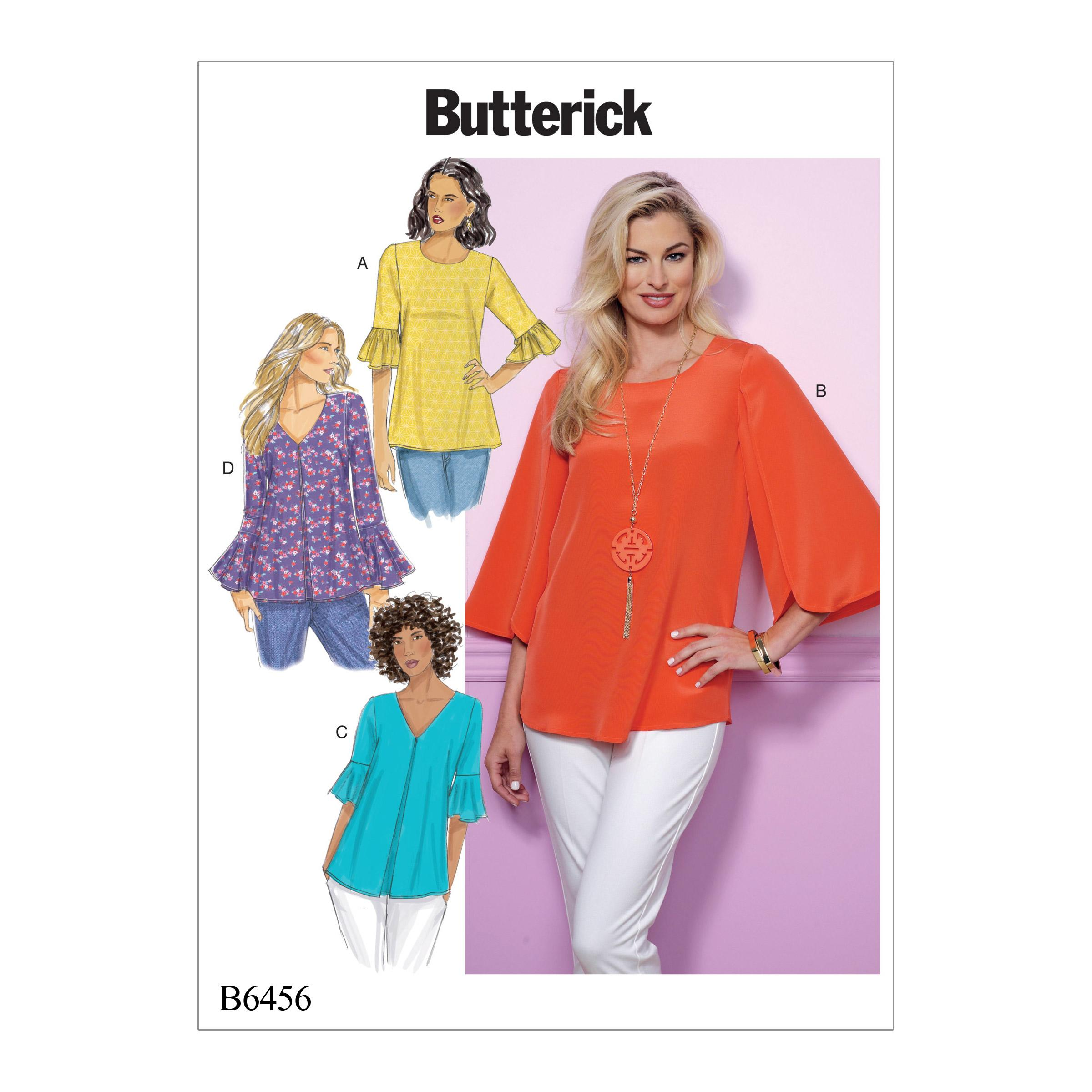Butterick B6456 Misses' Tulip or Ruffle Sleeve Tops