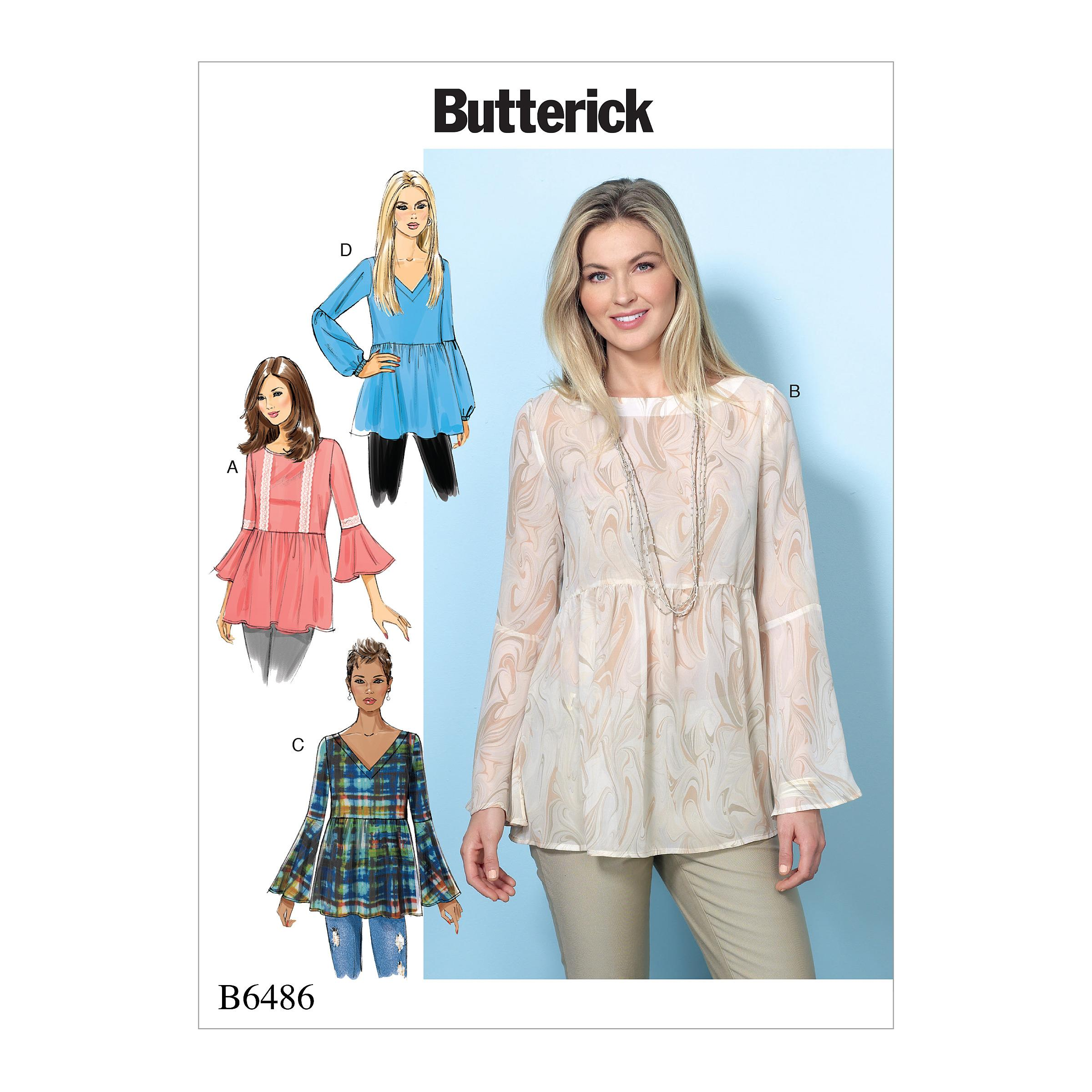 Butterick B6486 Misses' Loose-Fitting, Gathered Waist Pullover Tops with Bell Sleeves