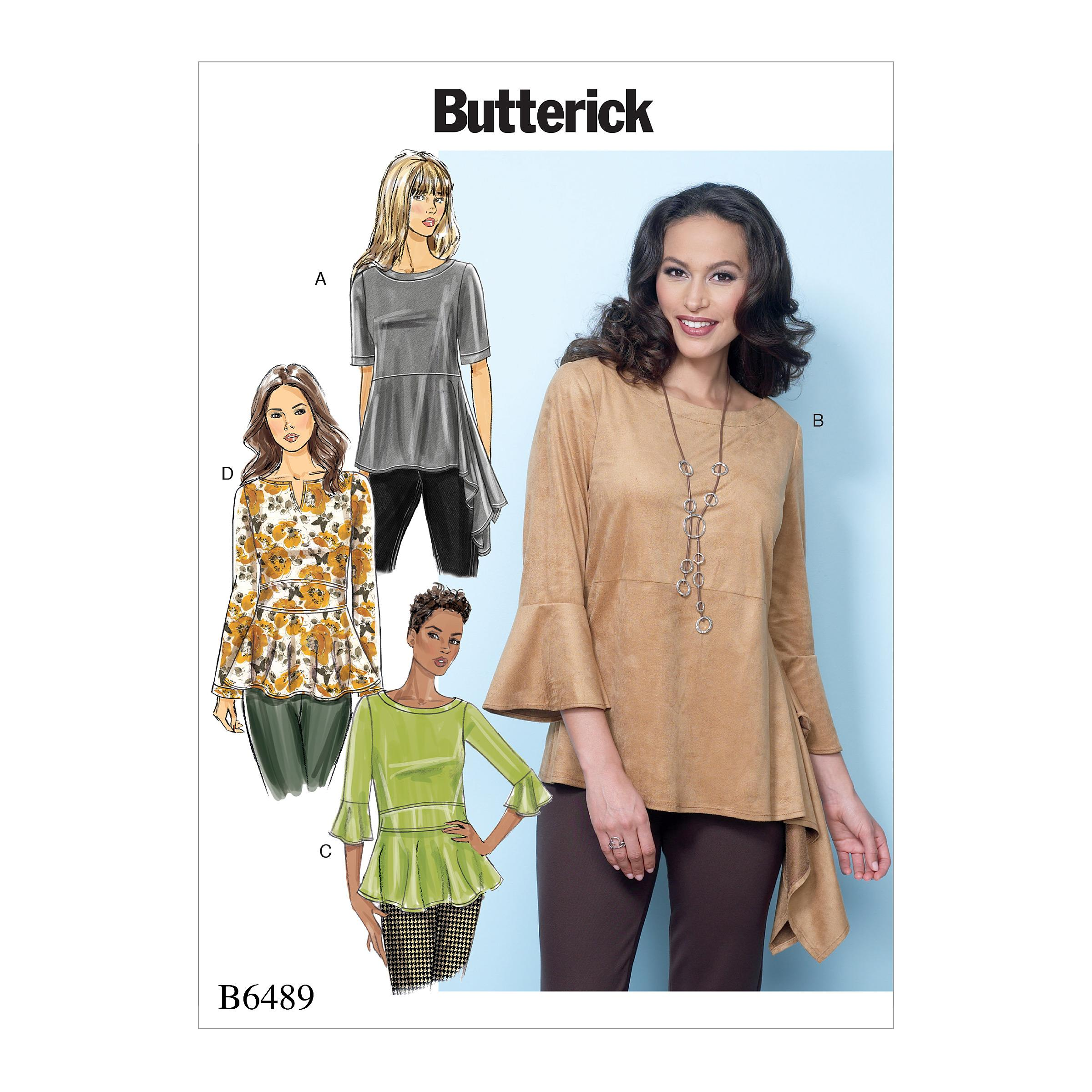 Butterick B6489 Misses' Pullover Tops with Sleeve and Peplum Variations