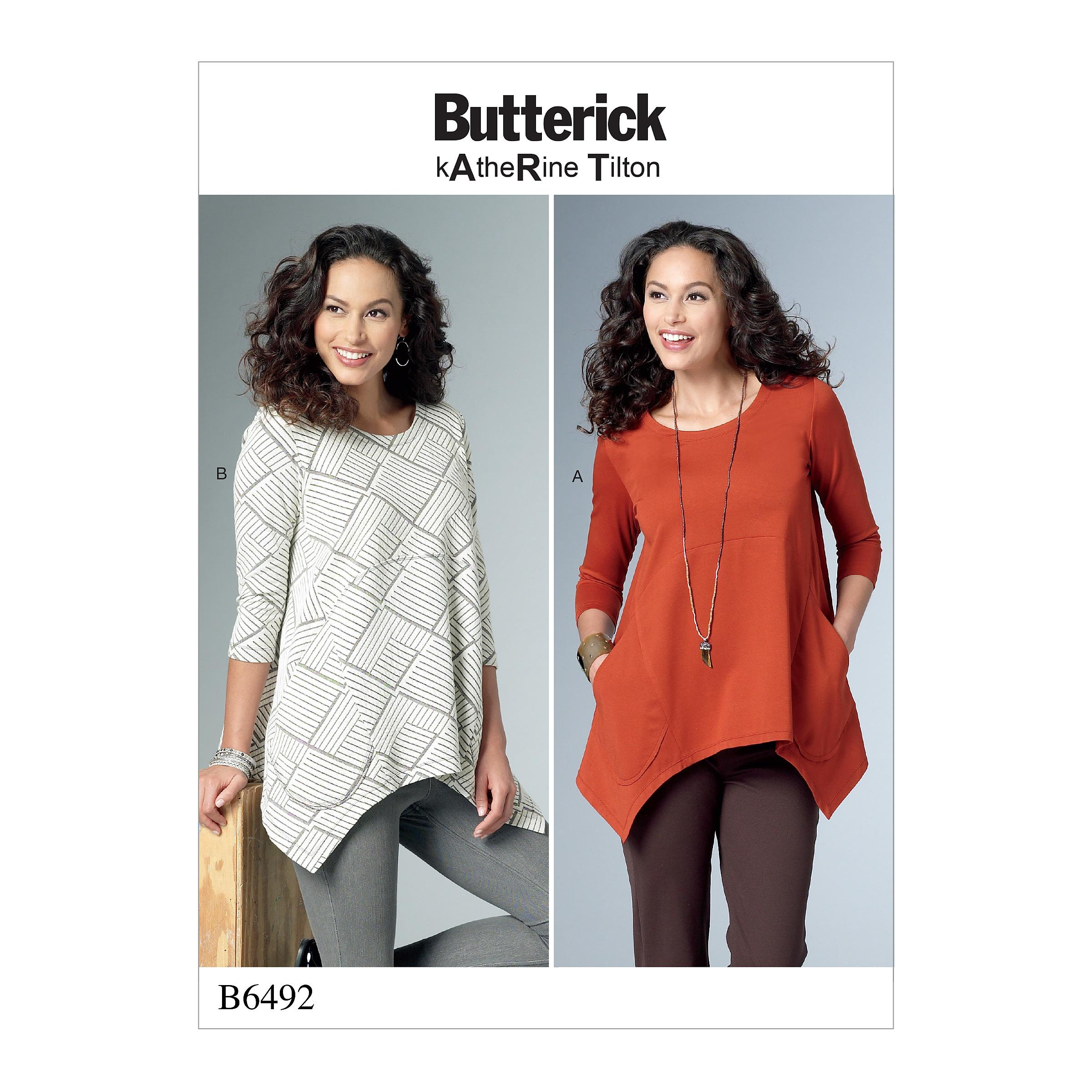 Butterick B6492 Misses' Loose Knit Tunics with Shaped Sides and Pockets