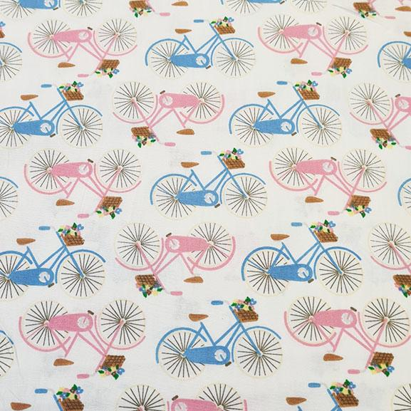 Pink & Blue Bicycles on White Poplin