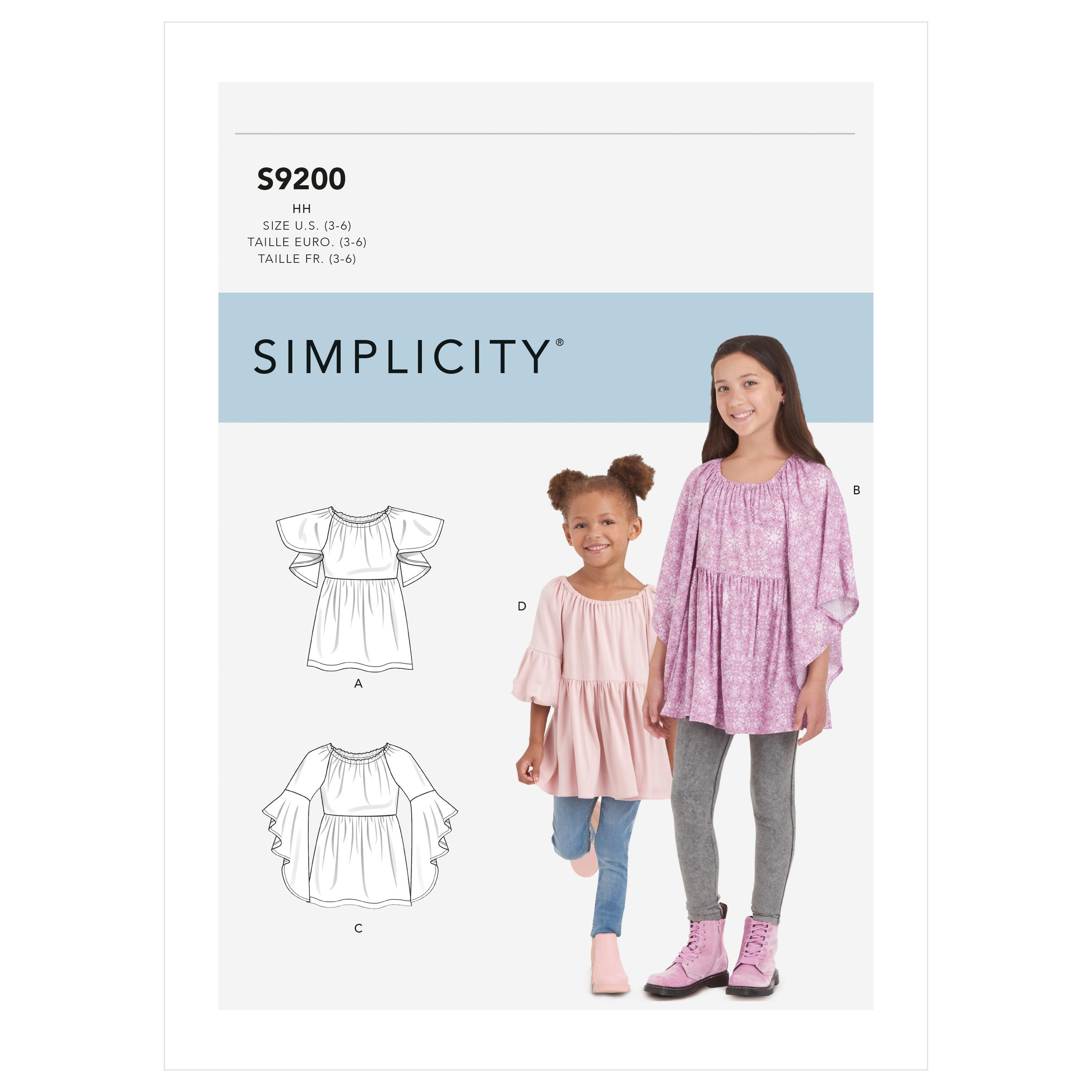 Simplicity Sewing Pattern S9200 Children's & Girls' Tops