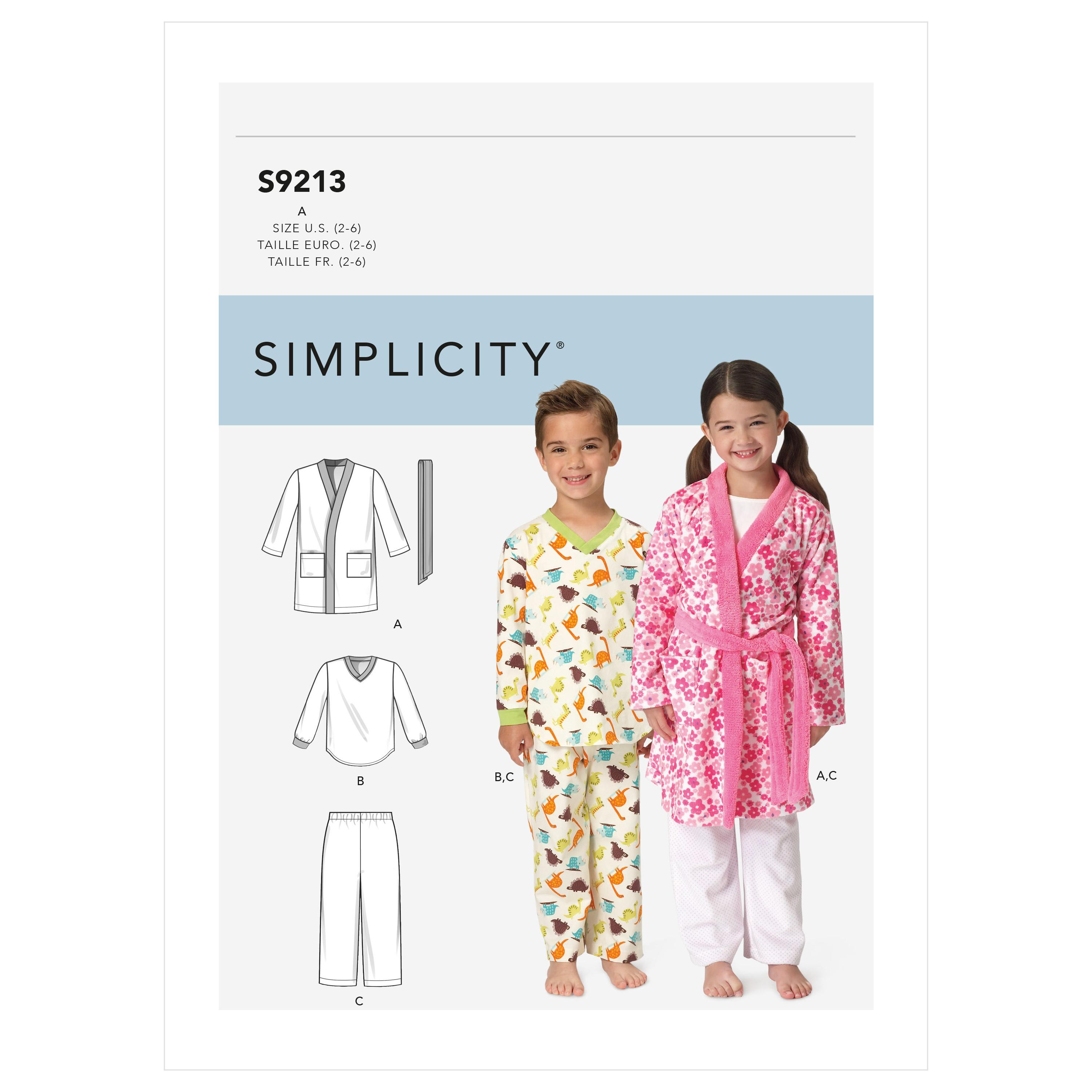 Simplicity Sewing Pattern S9213 Children's Cozywear