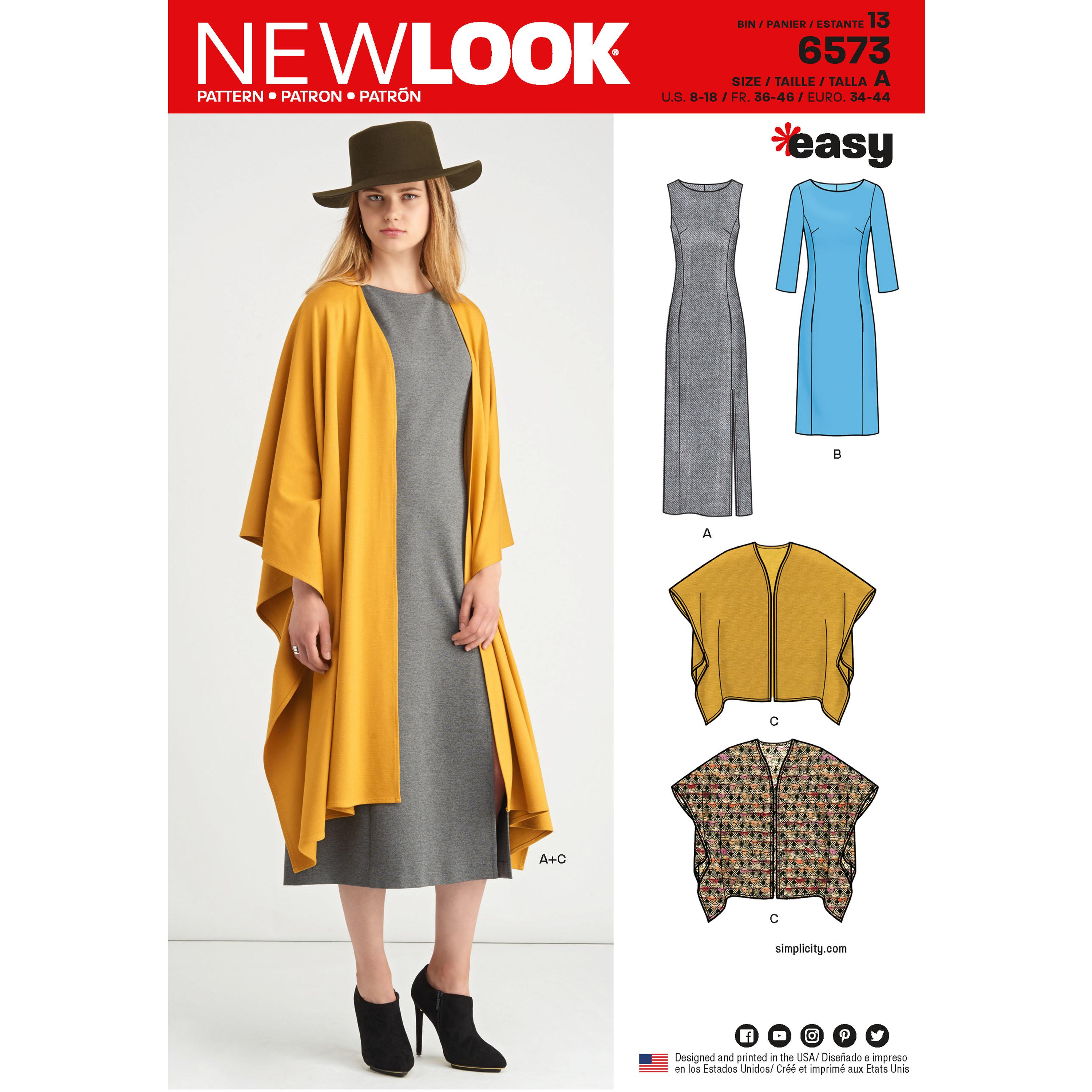 NewLook N6573 Misses' Dress and Wrap