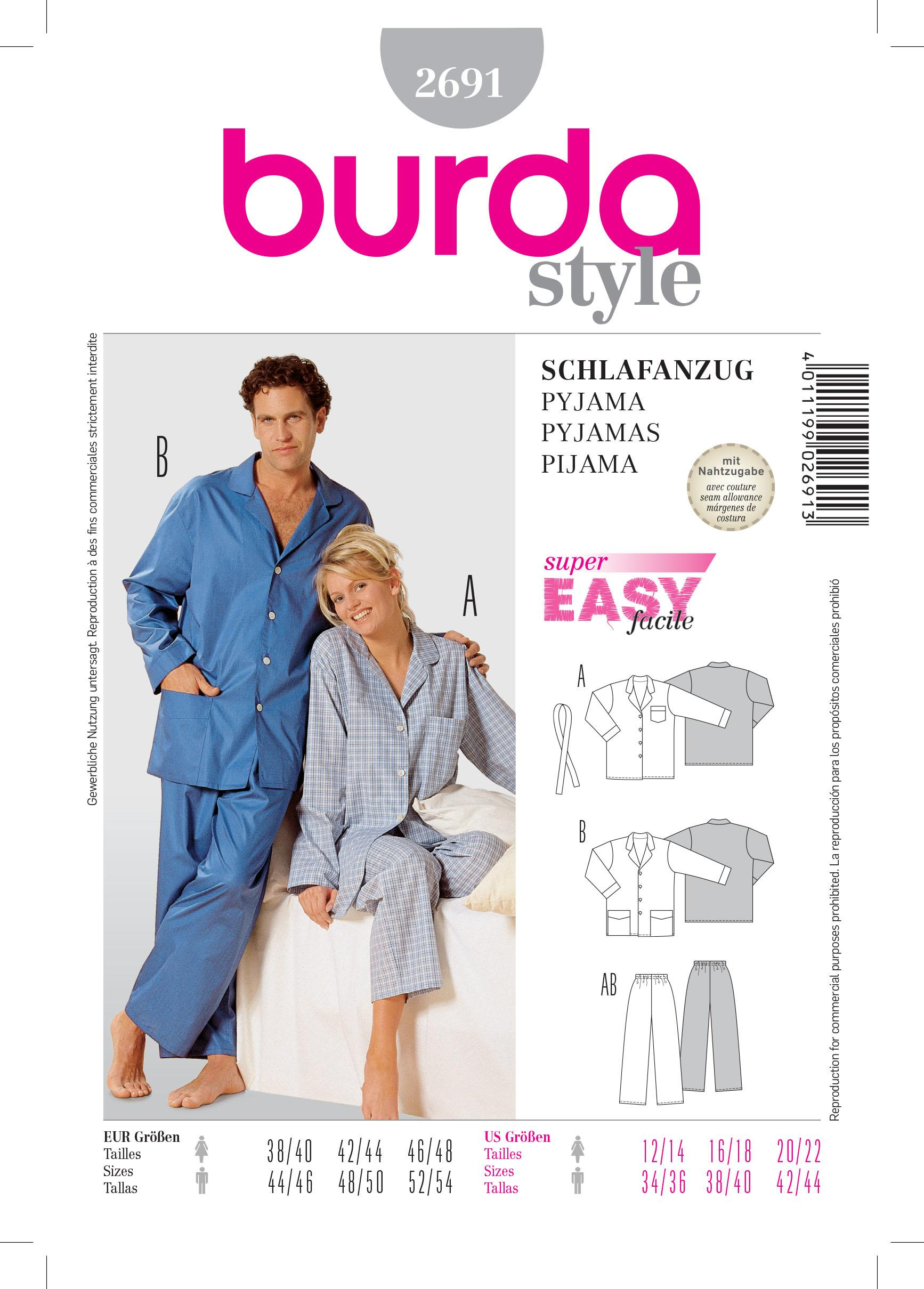 Burda B2691 Pyjamas Sewing Pattern