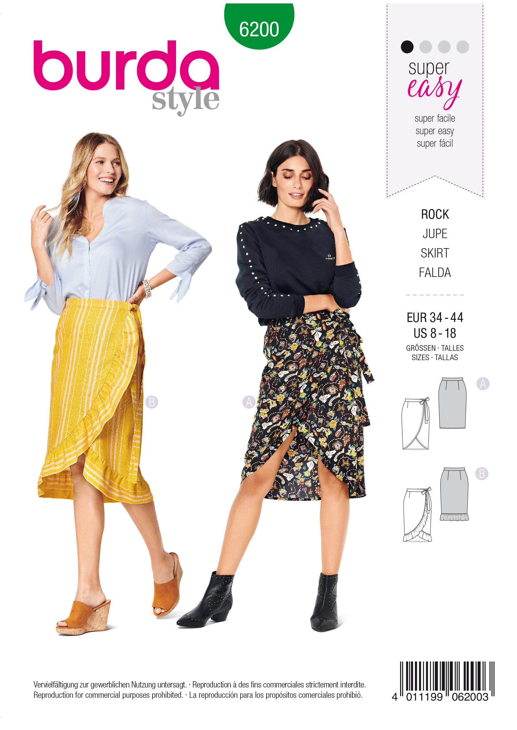 Burda B6200 Wrap Skirt with Waistband and Tie Bands Sewing Pattern