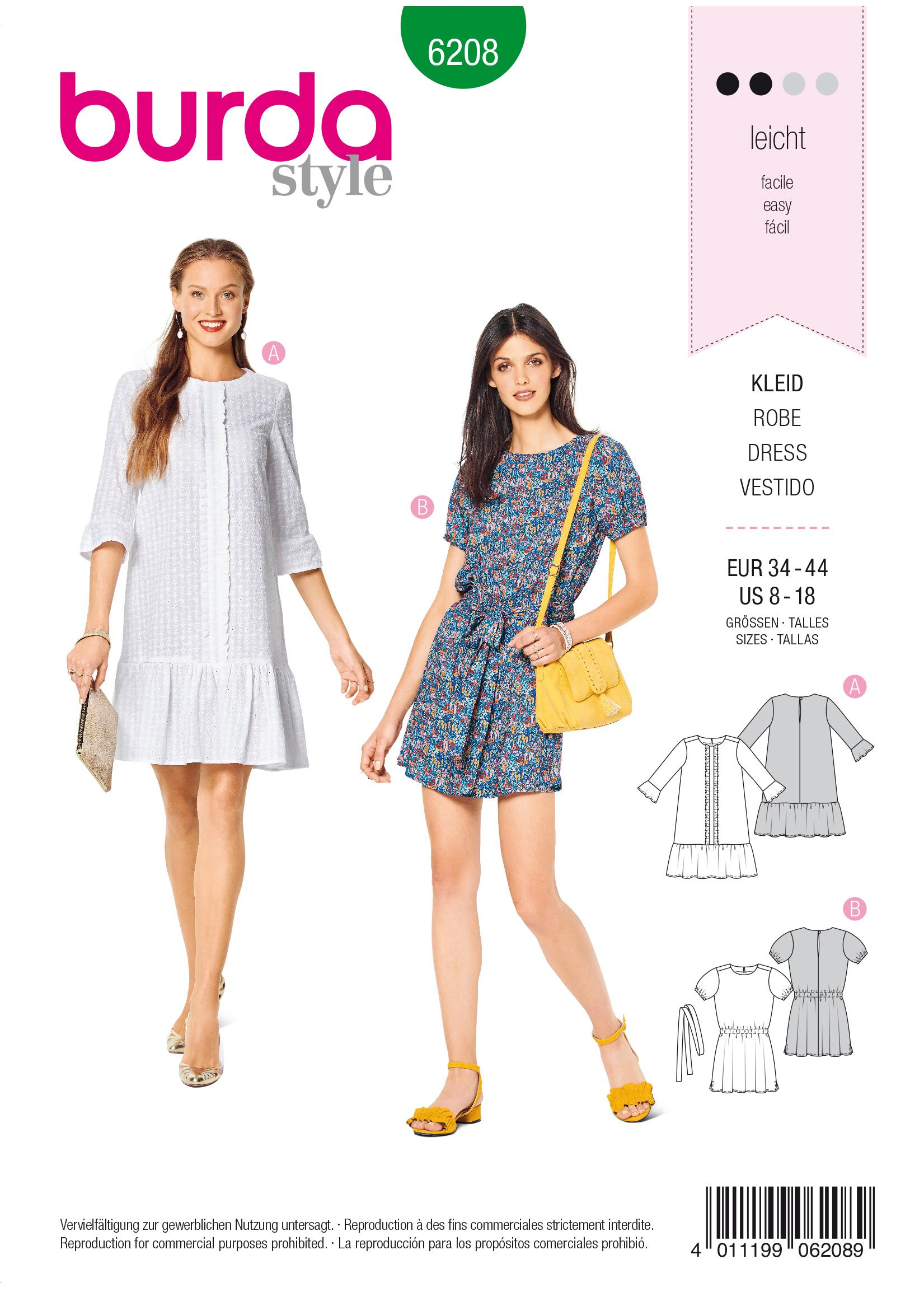 Burda B6208 Women's Dress Sewing Pattern