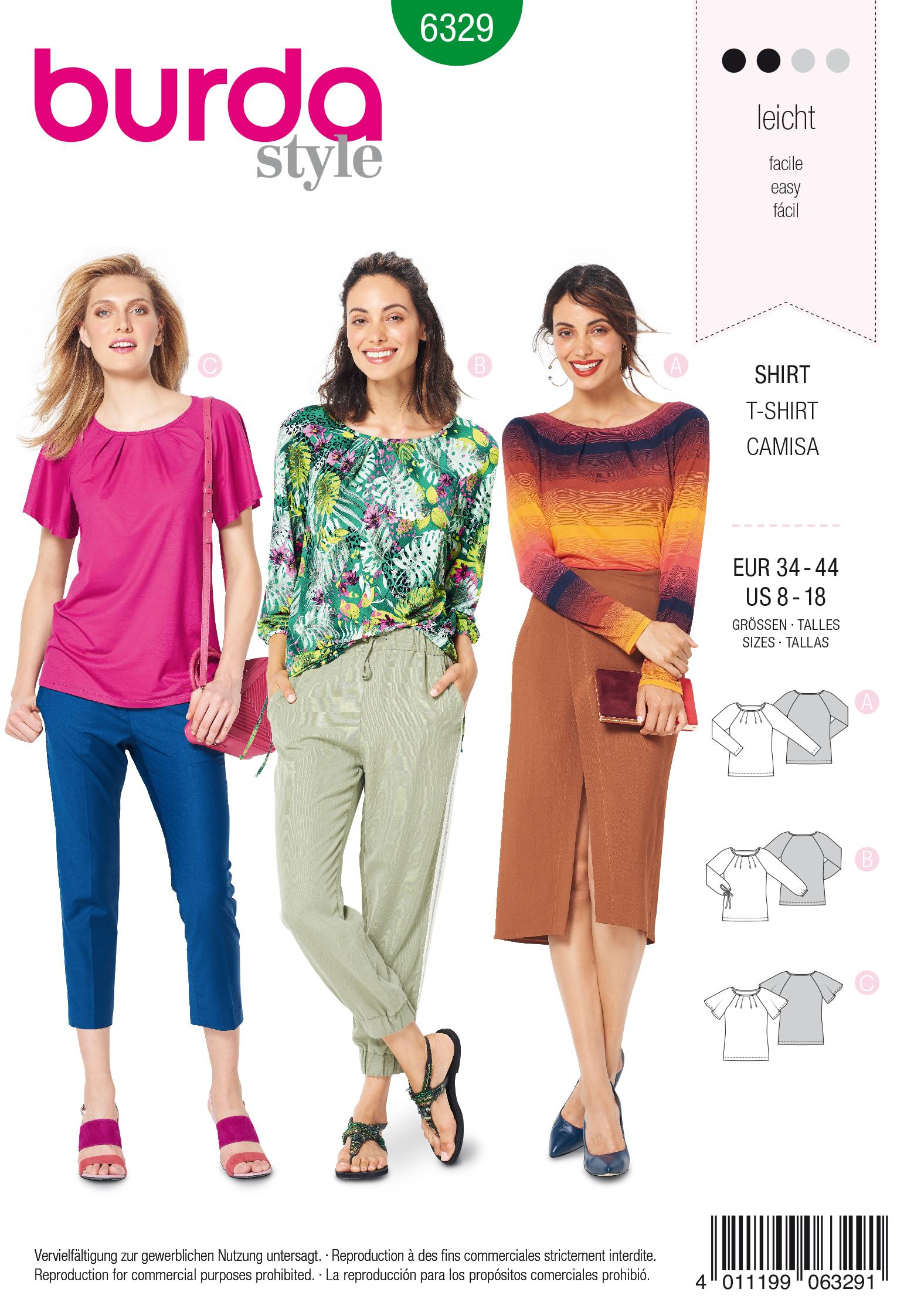 Burda 6329 Misses' raglan top