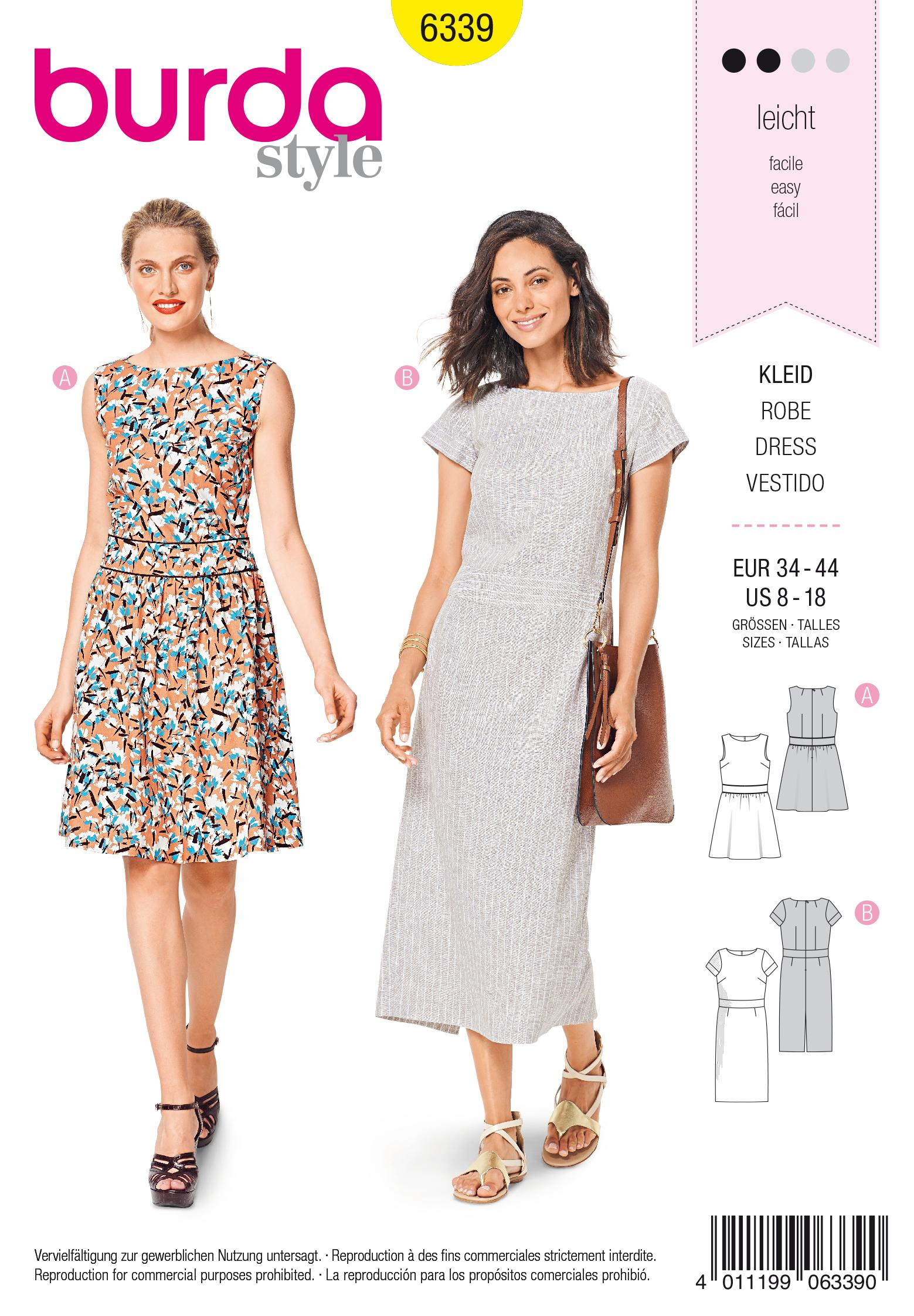Burda 6339 Misses' dress with waistband