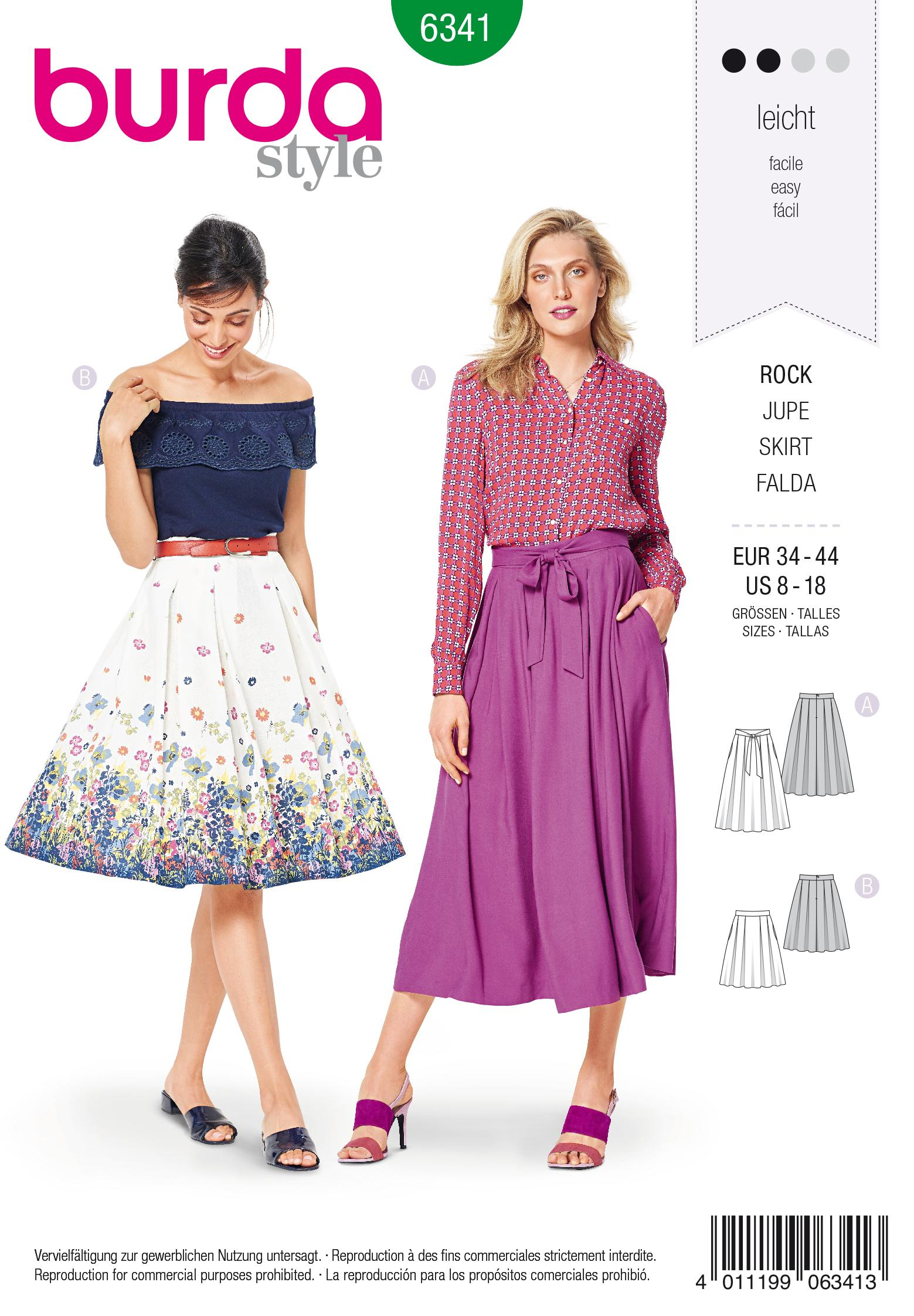 Burda 6341 Misses' inverted pleat skirt