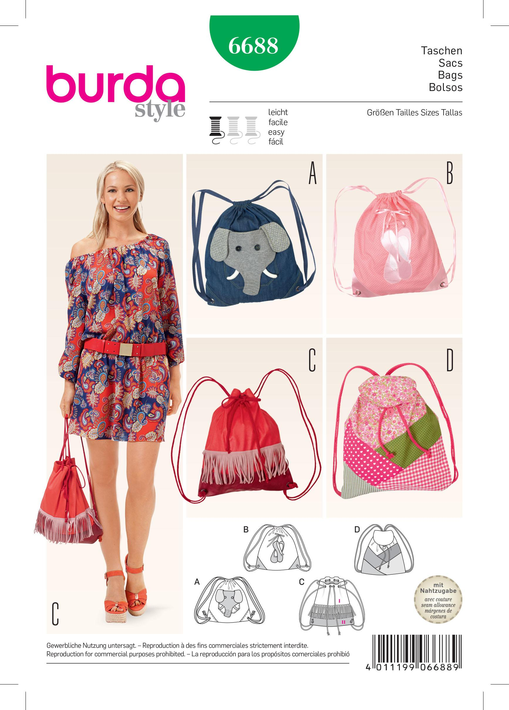 Burda B6688 Bags Sewing Pattern