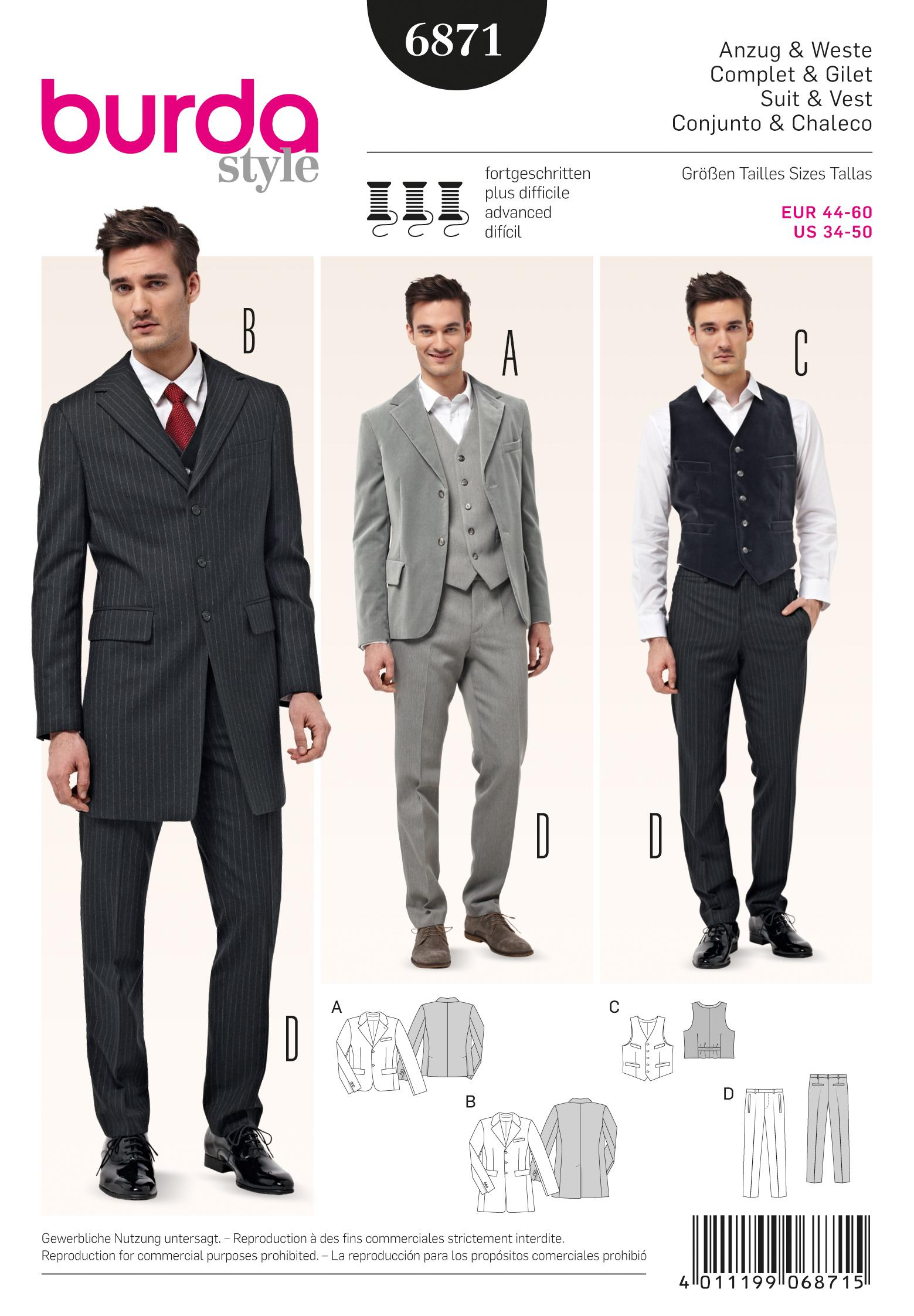 Burda B6871 Menswear Sewing Pattern