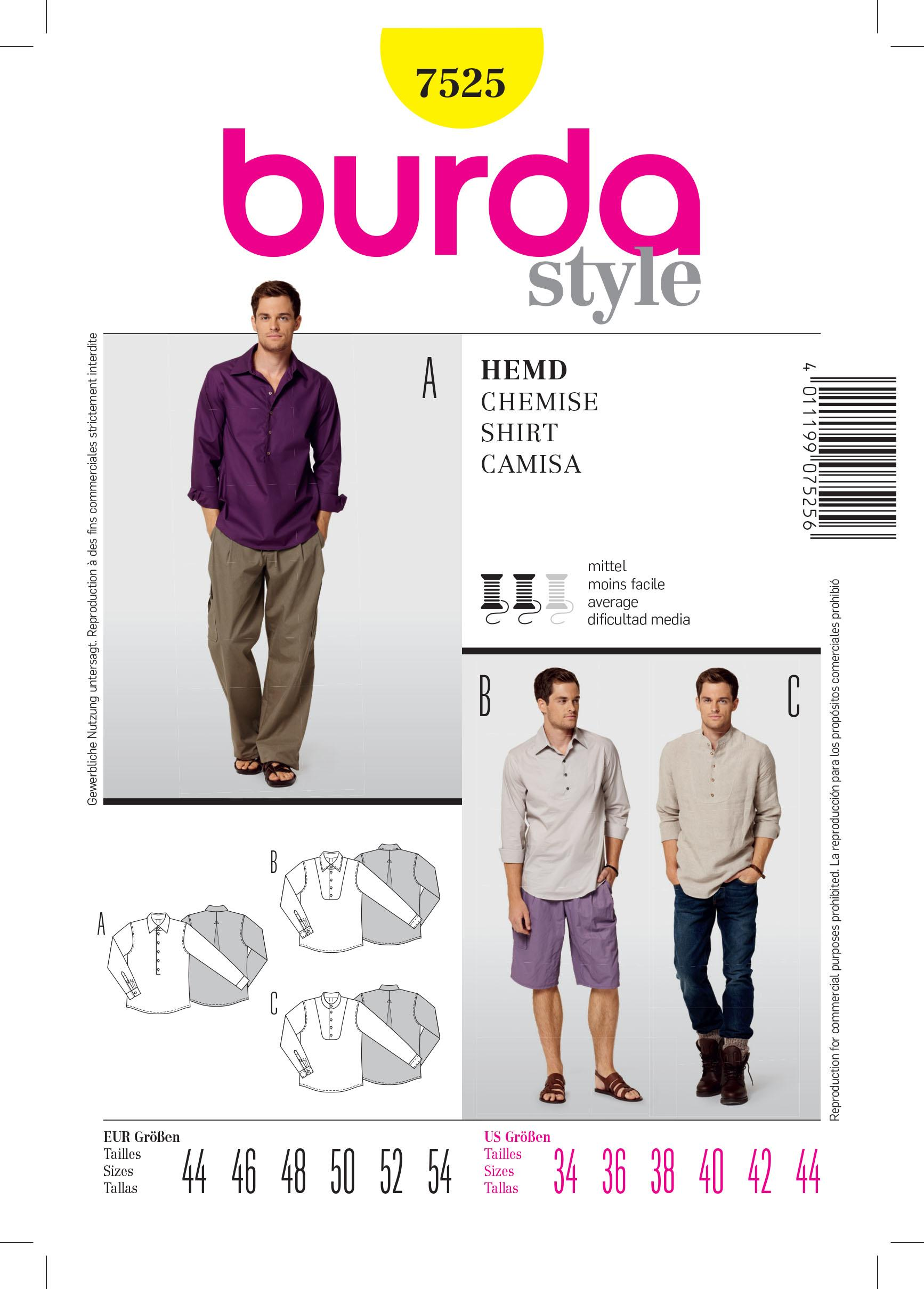 Burda B7525 Shirt Sewing Pattern