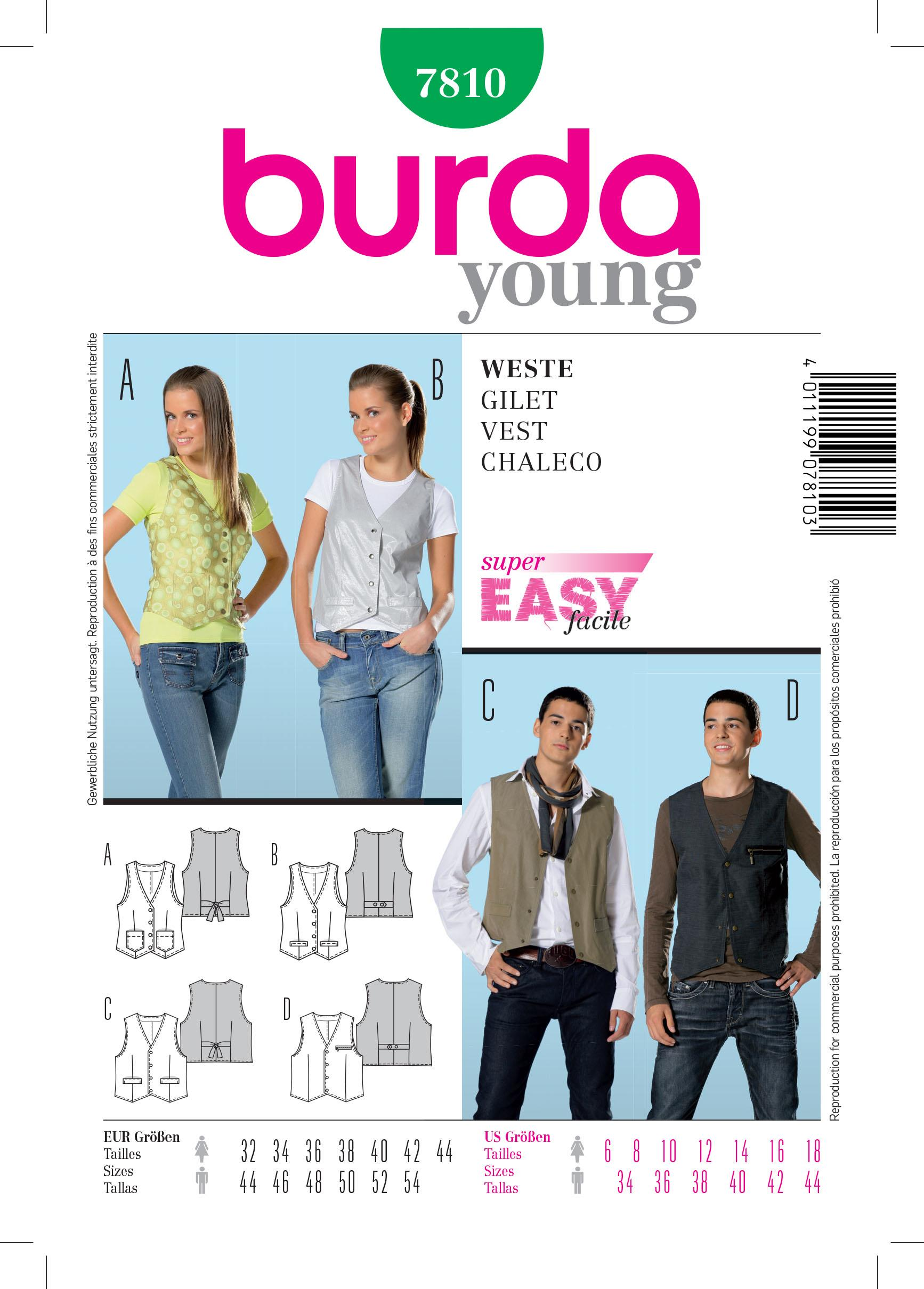 Burda B7810 Vest Sewing Pattern