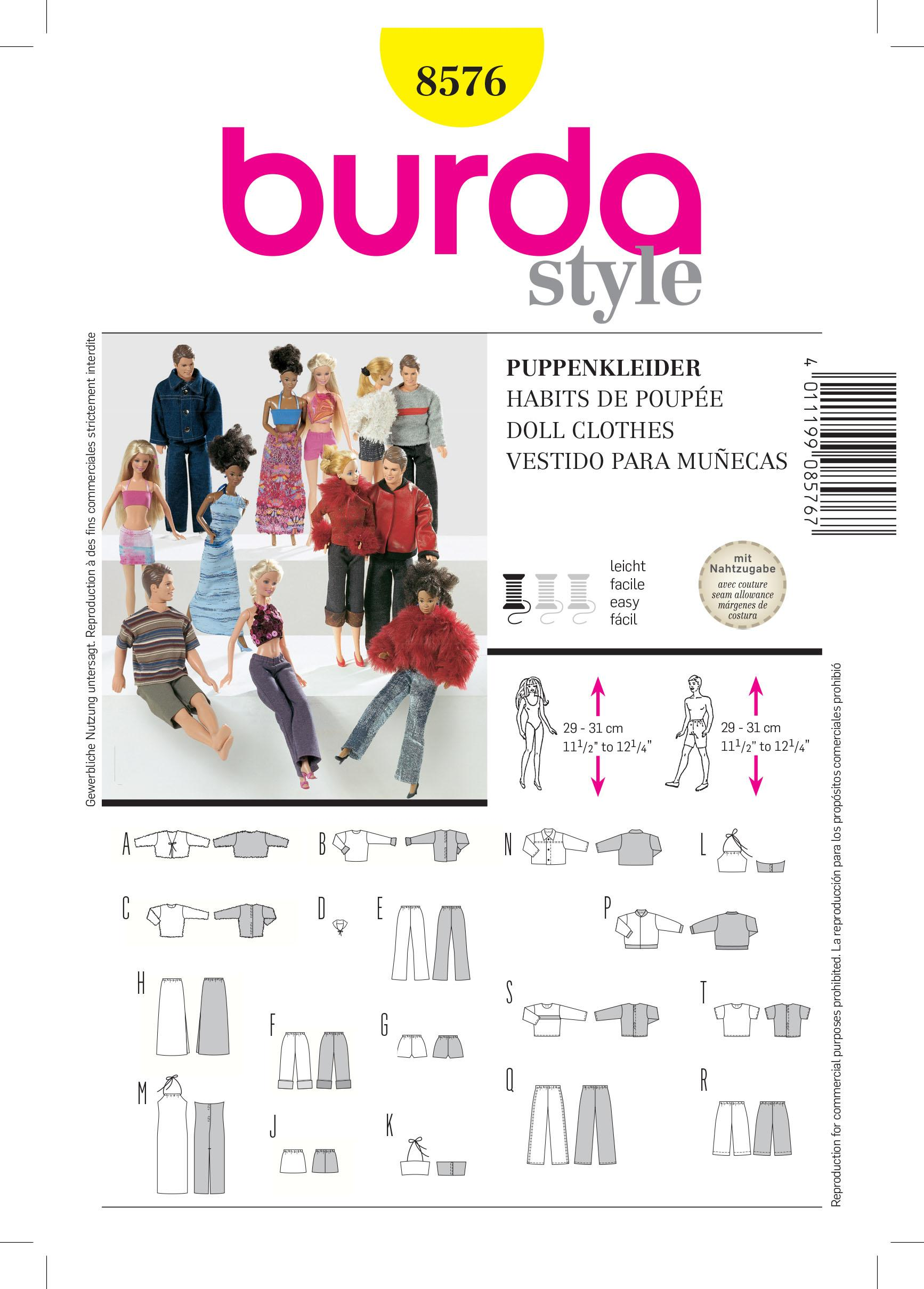 Burda B8576 Doll Clothes Sewing Pattern