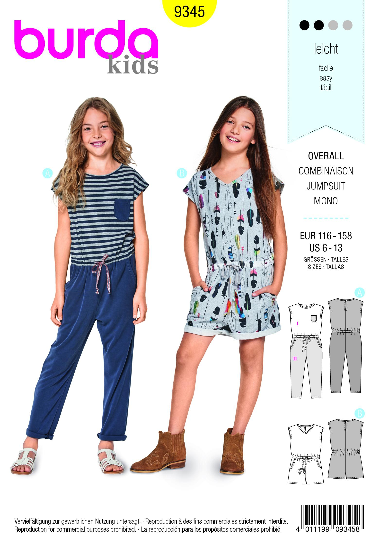 Burda B9345 Child's Summer Jumpsuit