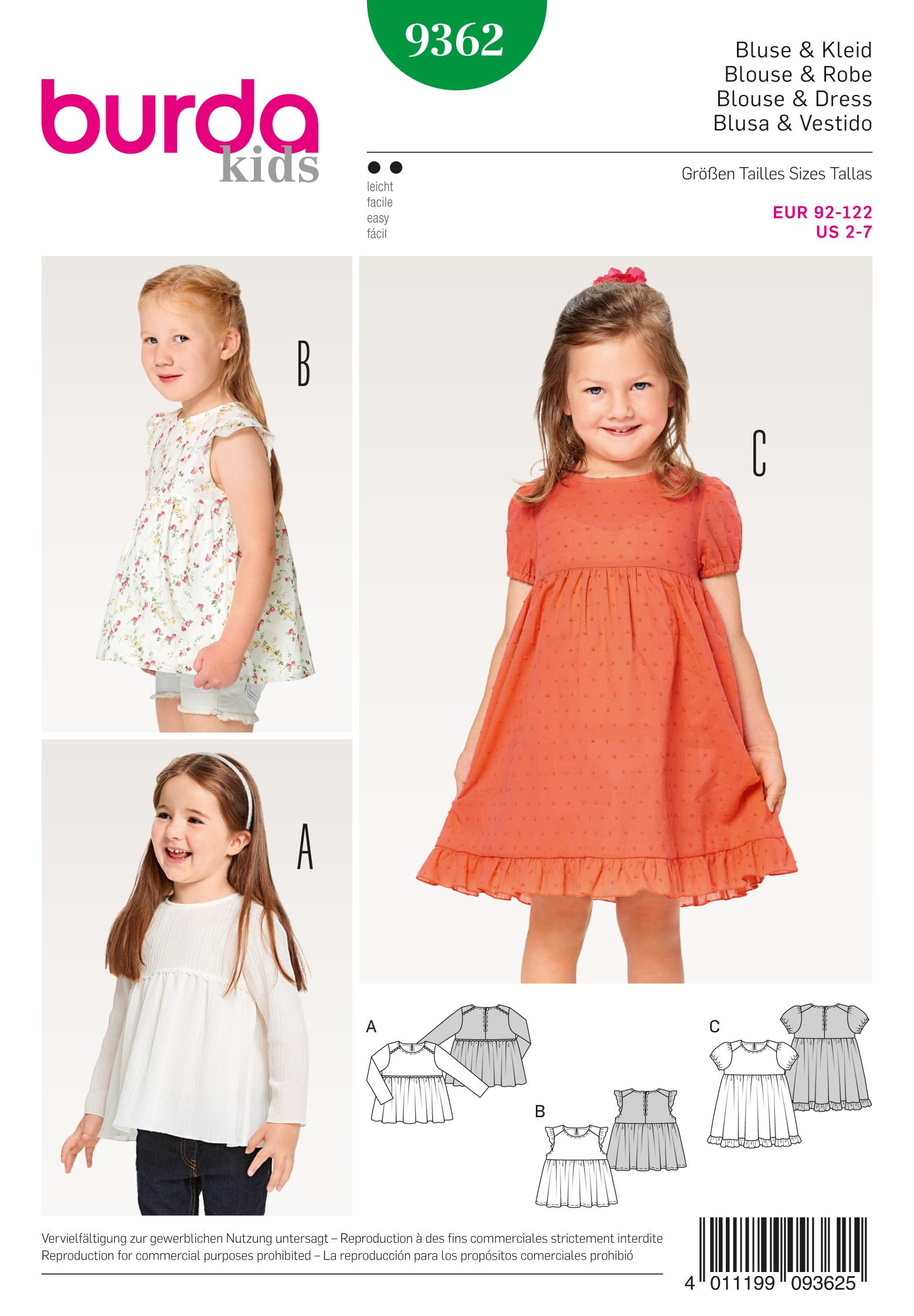 Burda B9362 Child Dress, Blouse and Skirt