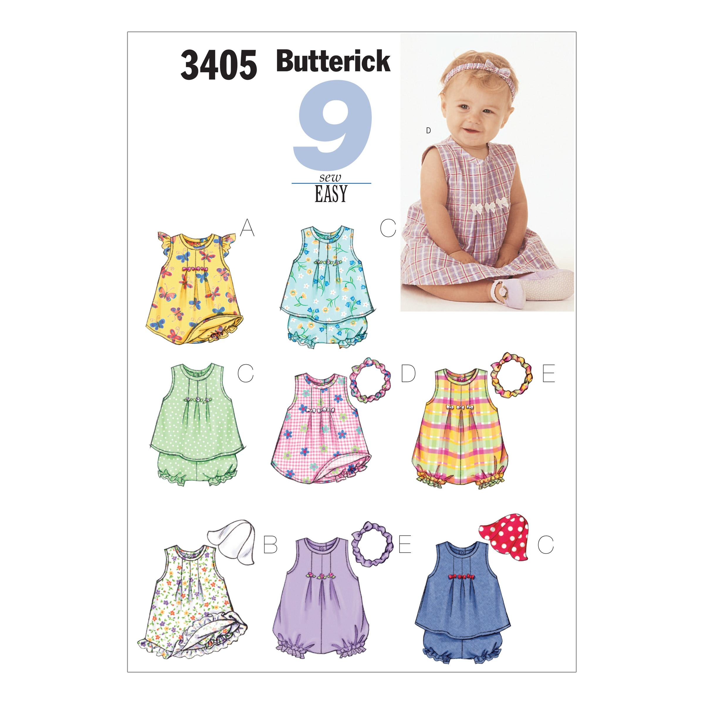 Butterick B3405 Infants' Dress, Top, Romper, Panties, Hat & Headband