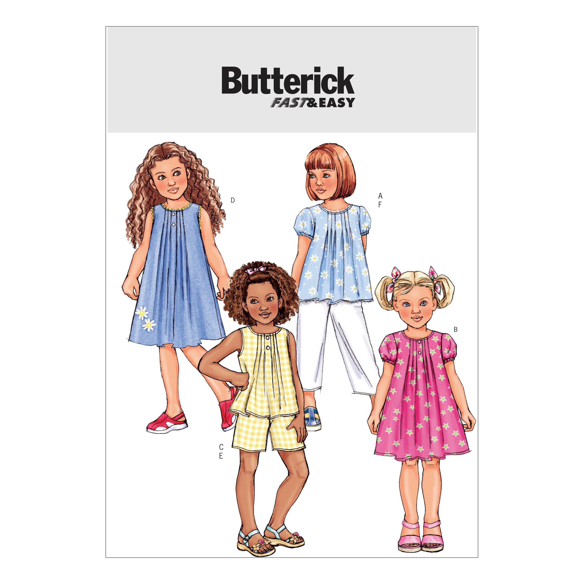 Butterick B4176 Children's/Girls' Top, Dress, Shorts and Pants