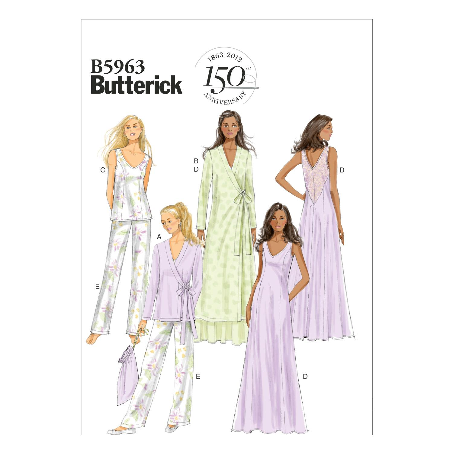 Butterick B5963 Misses' Robe, Top, Gown, Pants and Bag