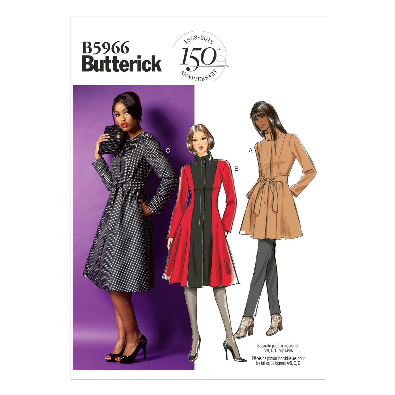 Butterick B5966 Misses'/Women's Jacket, Coat and Belt