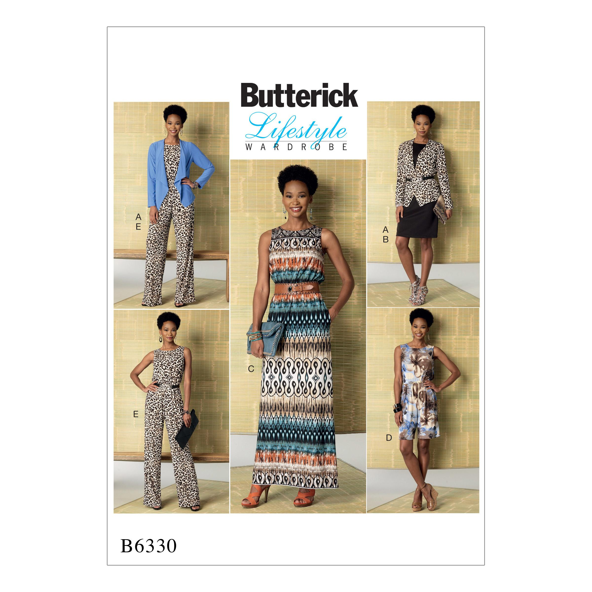 Butterick B6330 Misses' Jacket, Elastic-Waist Dress, Romper and Jumpsuit