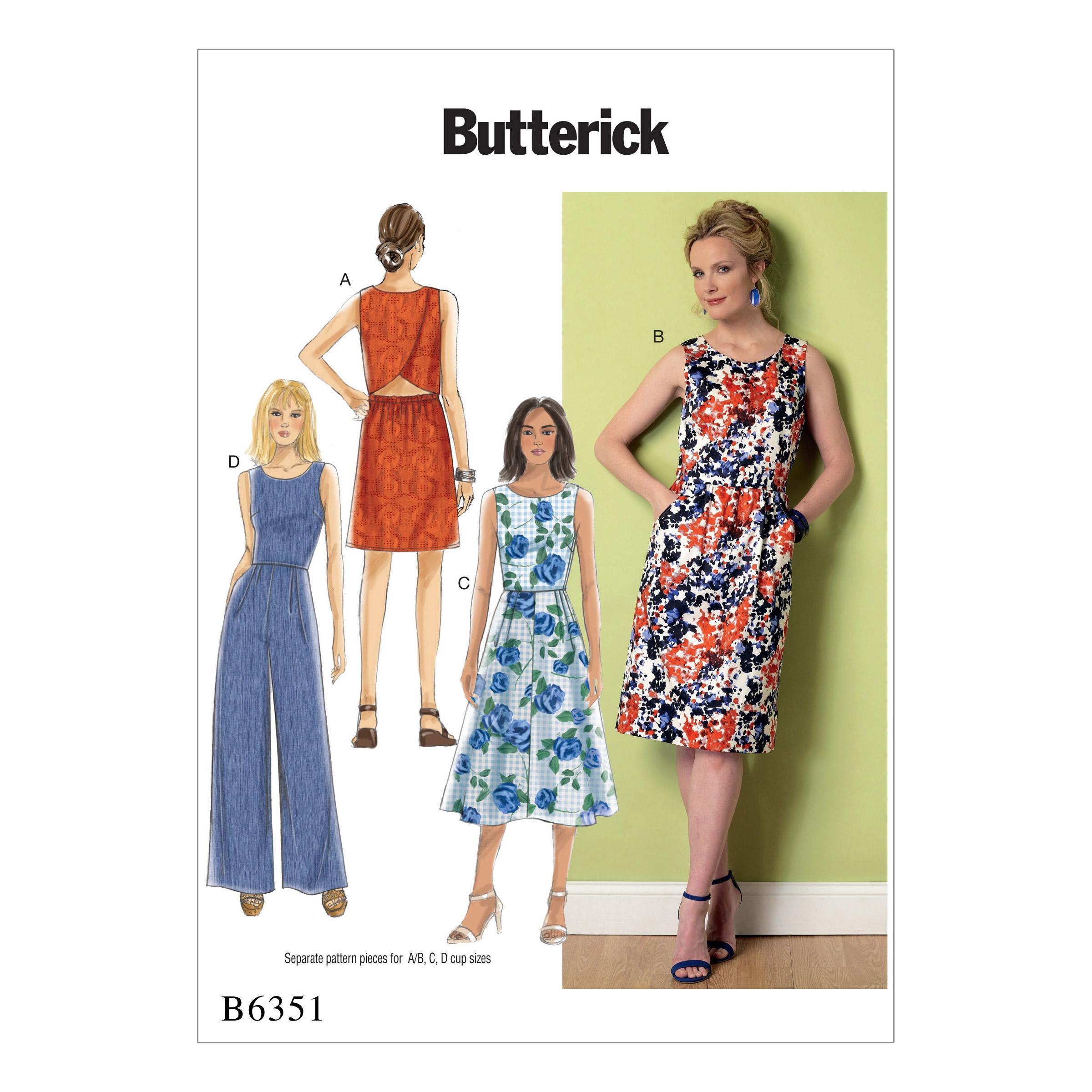 Butterick B6351 Misses' Open-Back, Tulip-Detail Dresses and Jumpsuit