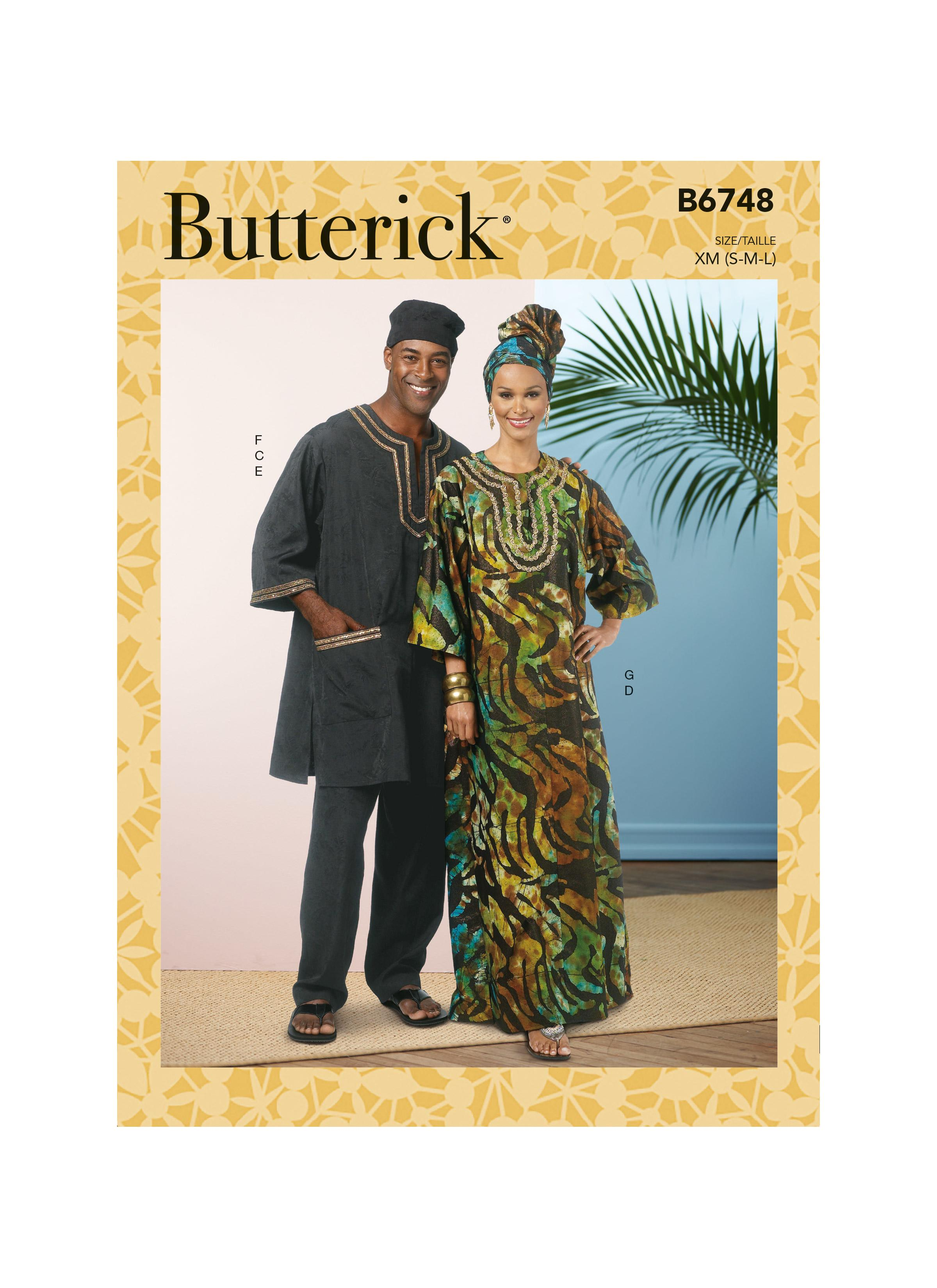 Butterick B6748 Misses'/Men's Tunic, Caftan, Pants, Hat and Head Wrap