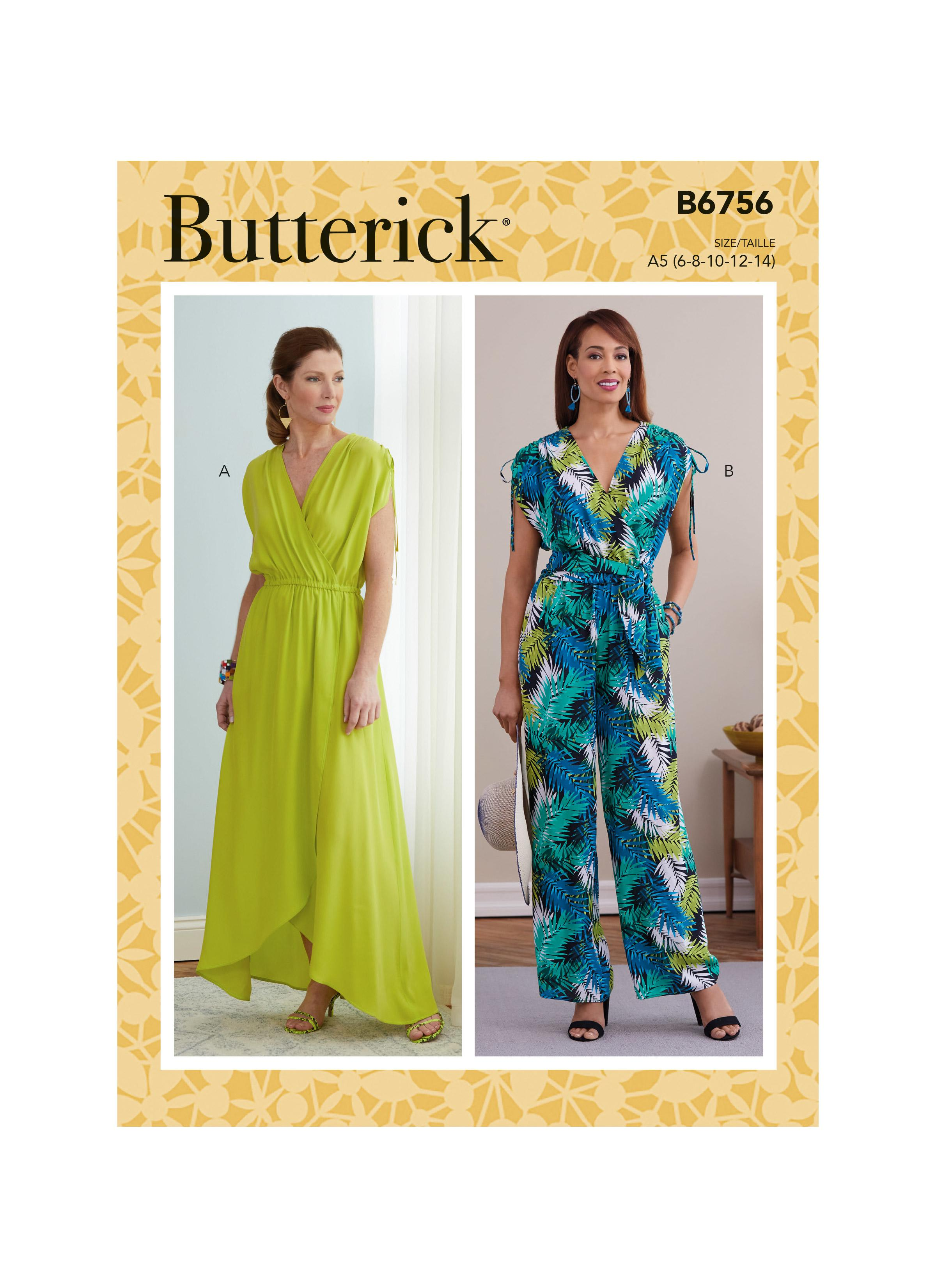 Butterick B6756 Misses' Dress, Jumpsuit and Sash