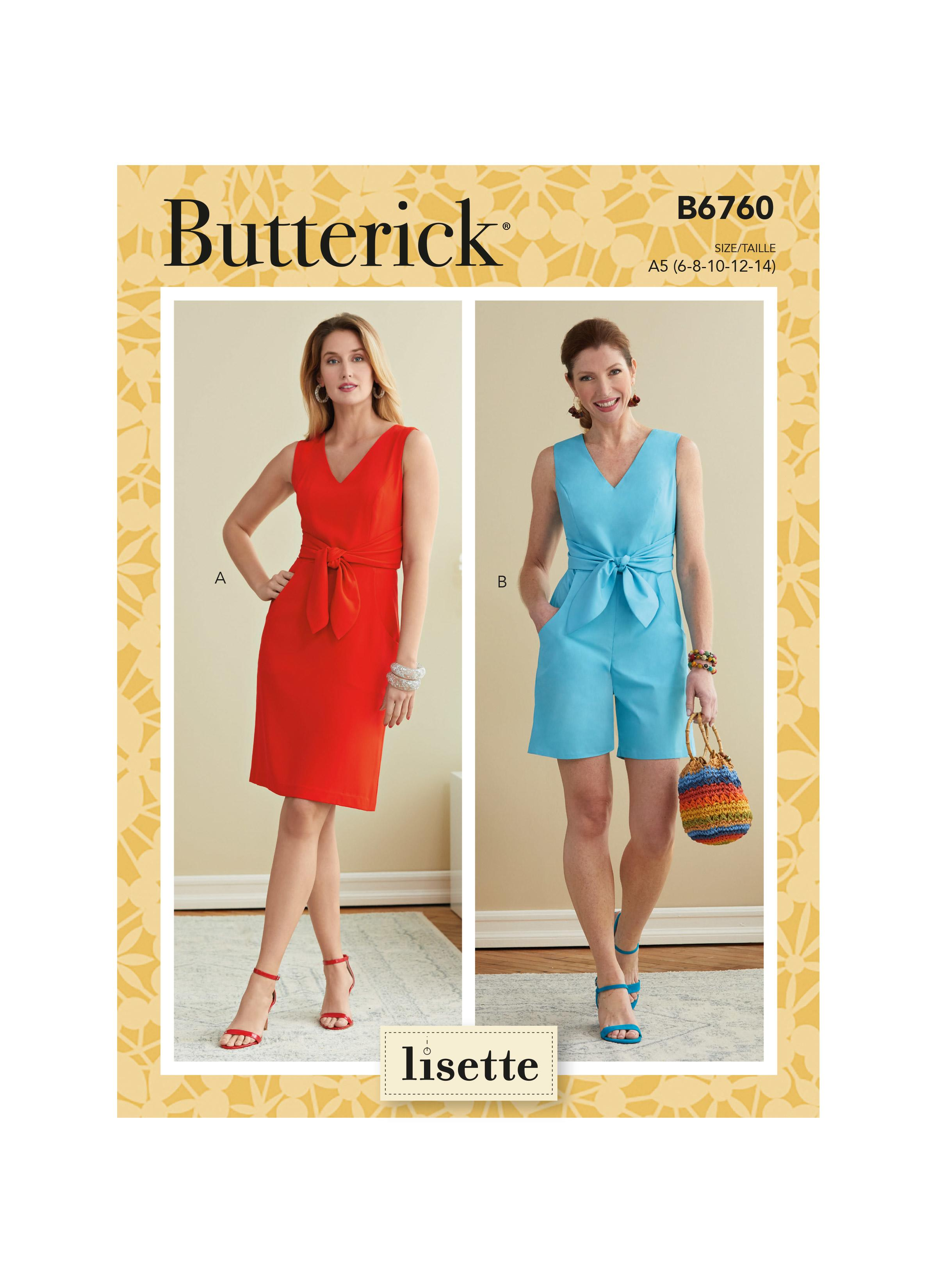 Butterick B6760 Misses' Dress and Playsuit. Lisette.