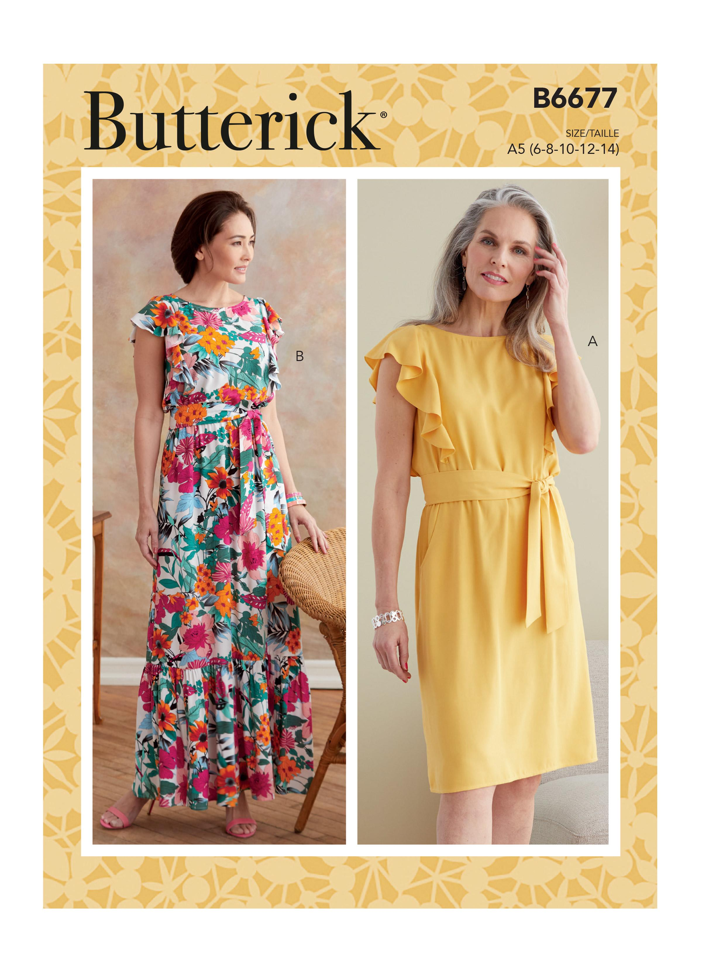 Butterick B6677 Misses' Dress and Sash