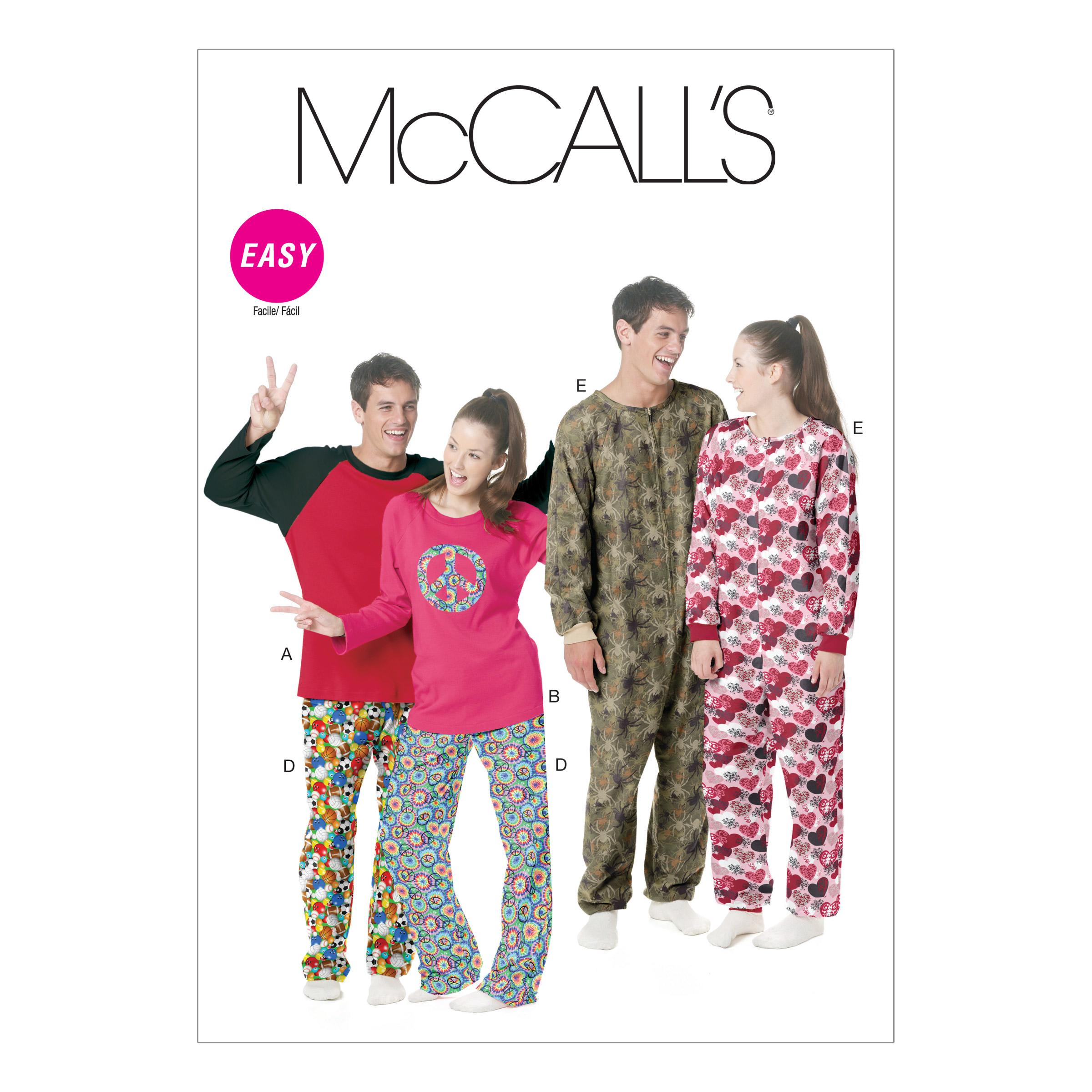 McCalls M6251 Family Sleepwear, Men, Men/Boys, Misses, Misses/Women/Girls, Sleep/Loungewear, Unisex