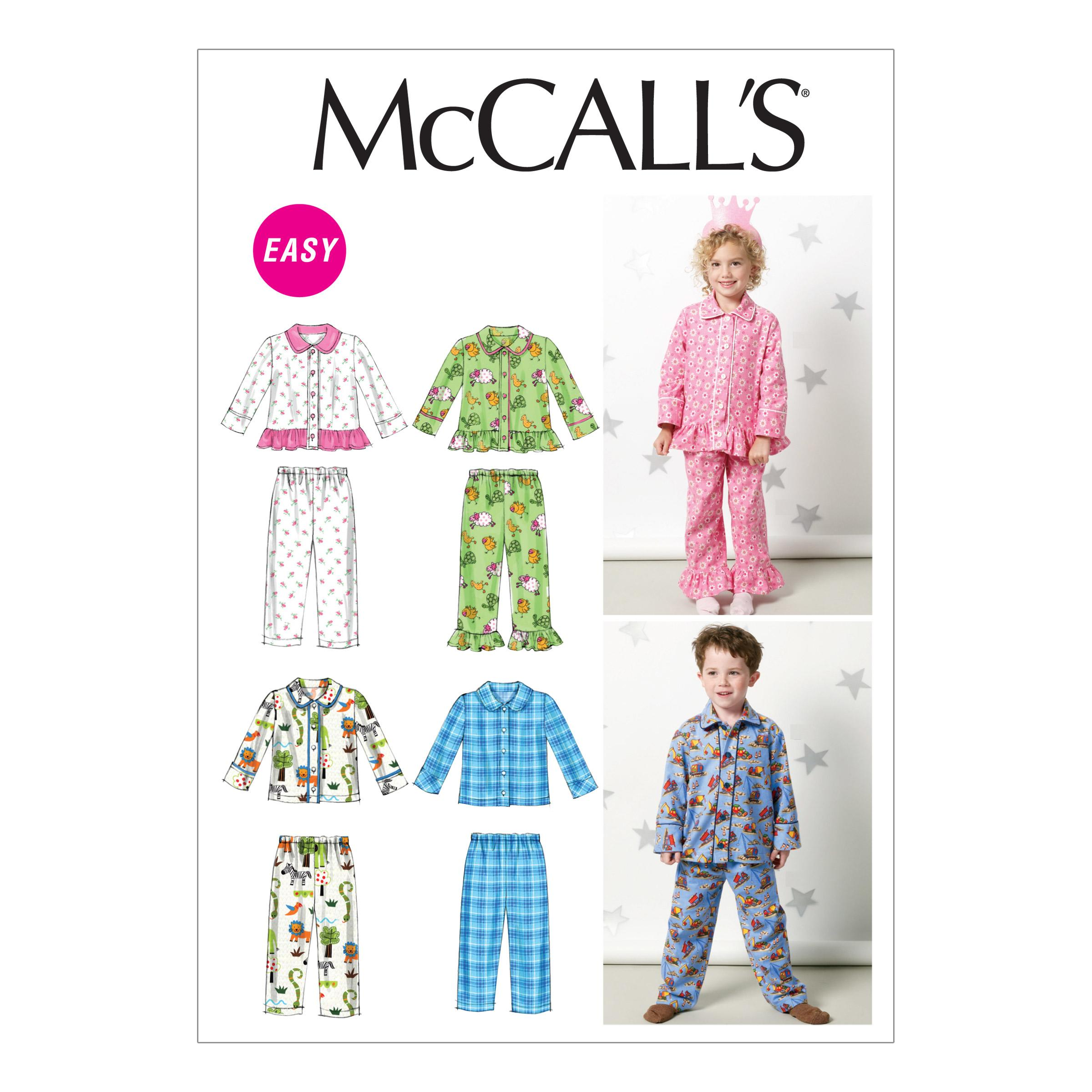 McCalls M6458 Children, Family Sleepwear, Infants/Toddlers