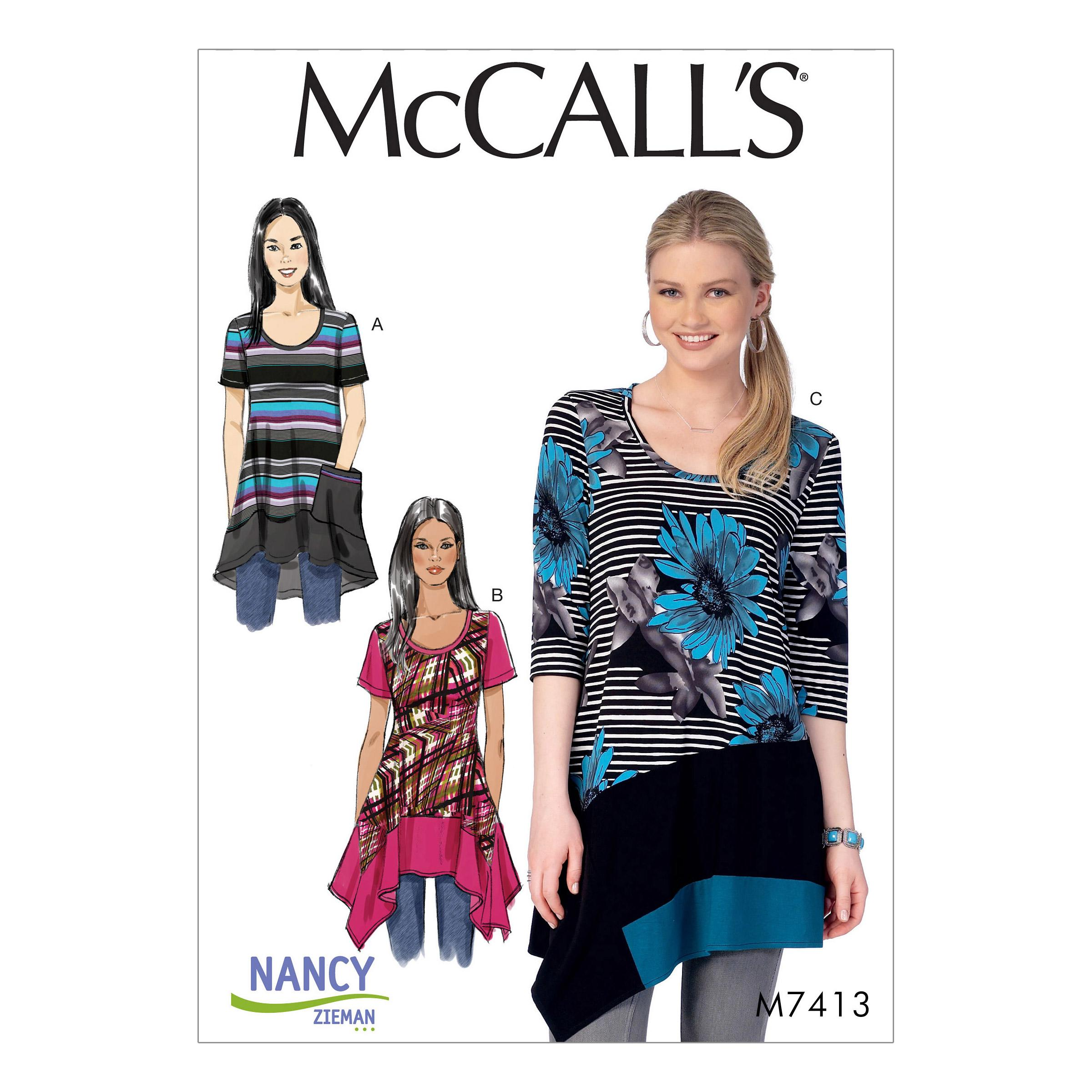 McCalls M7413 Misses Tops, Plus Sizes