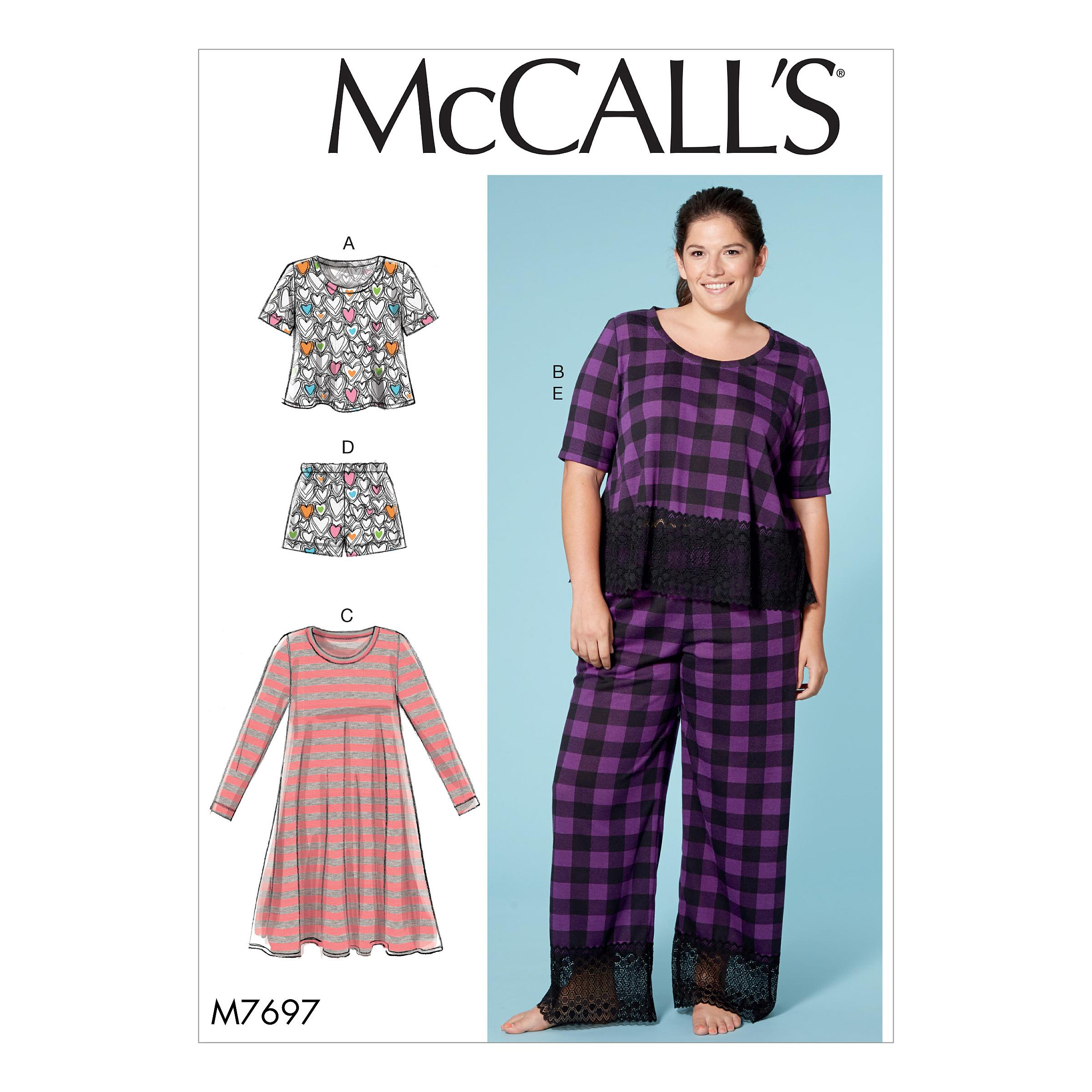 McCalls M7697 Misses Pants, Jumpsuits & Shorts, Misses Tops, Misses Coordinates, Plus Sizes, Family Sleepwear