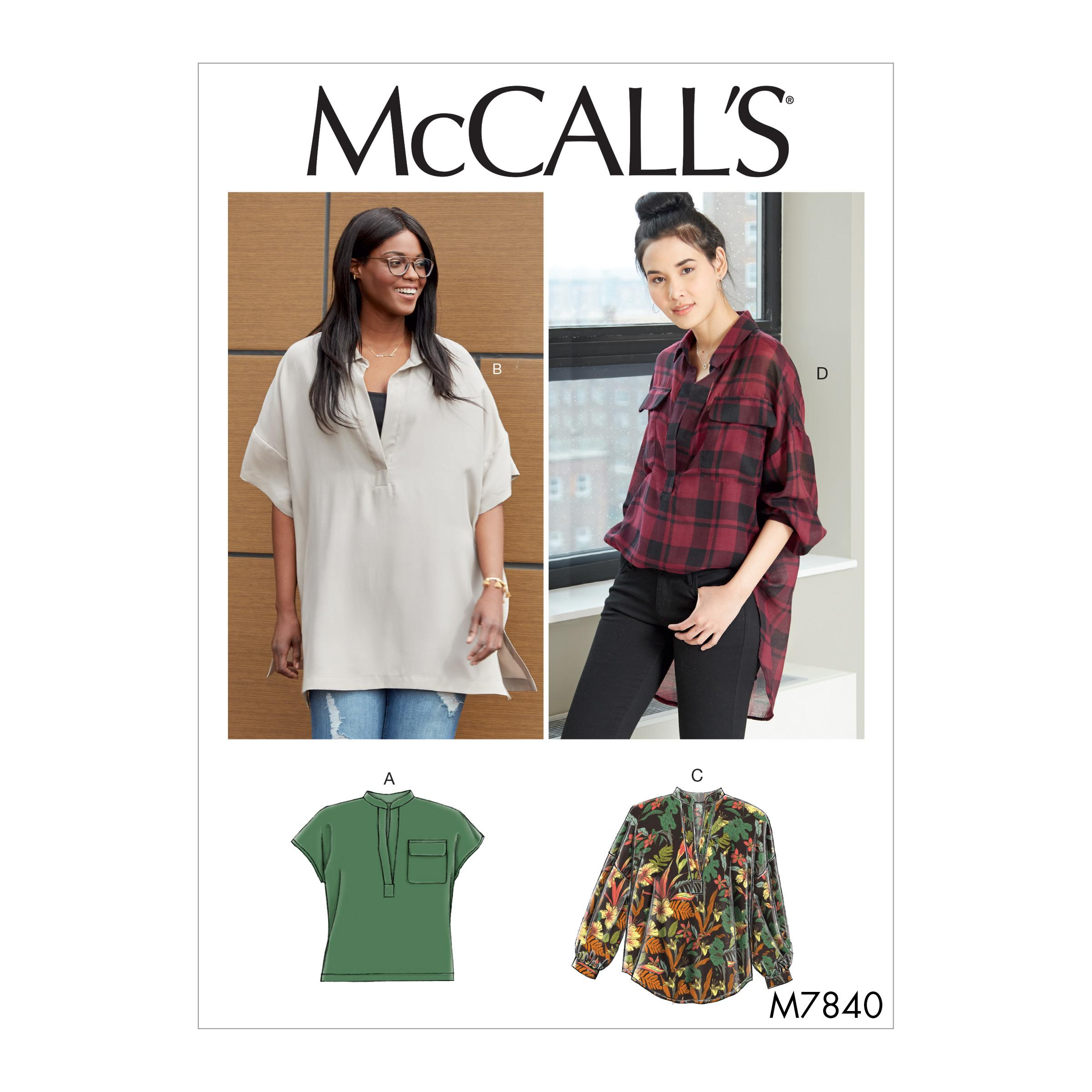 McCalls M7840 Misses Tops, Plus Sizes