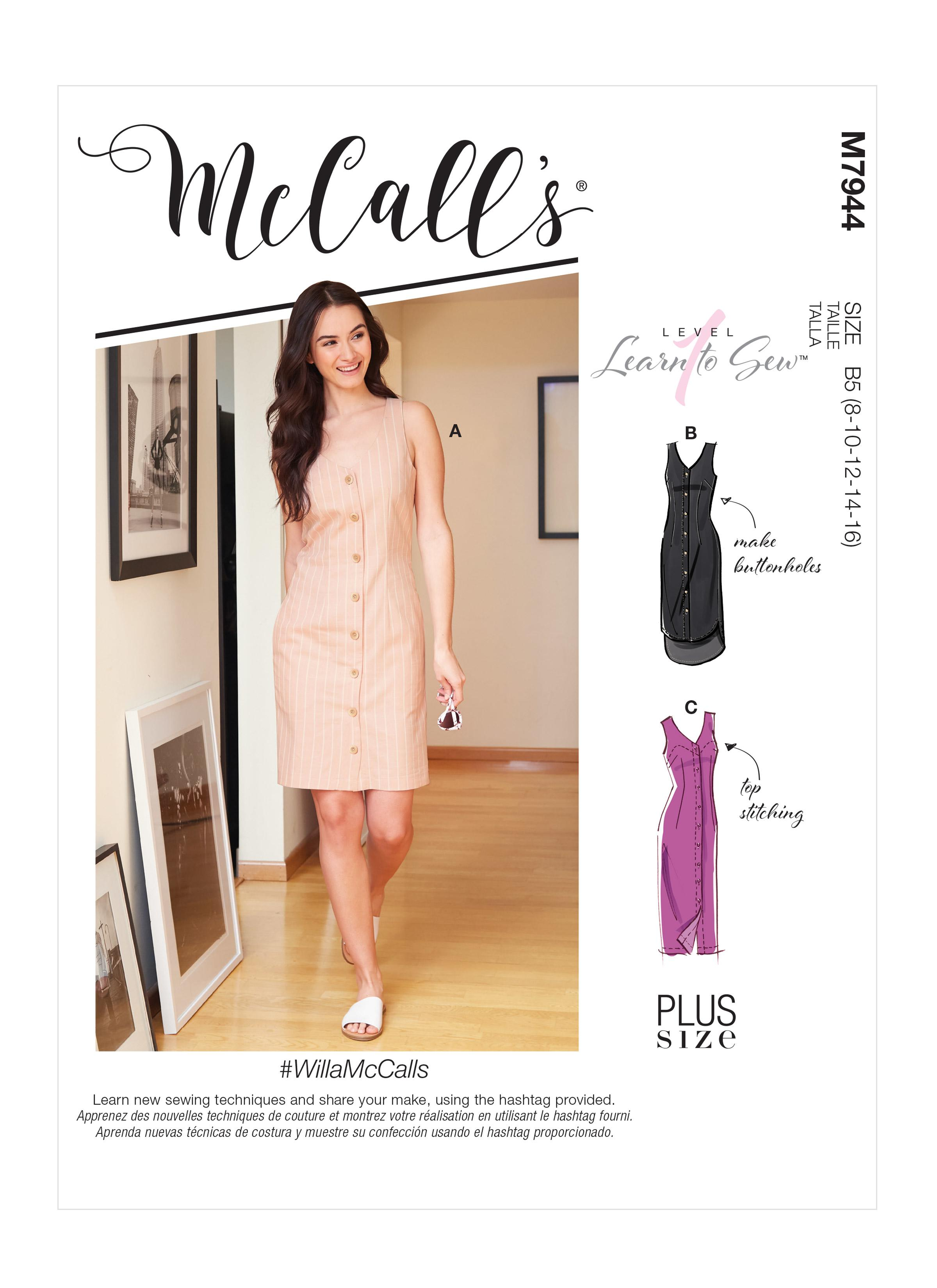 McCalls M7944 Misses Dresses, Plus Sizes